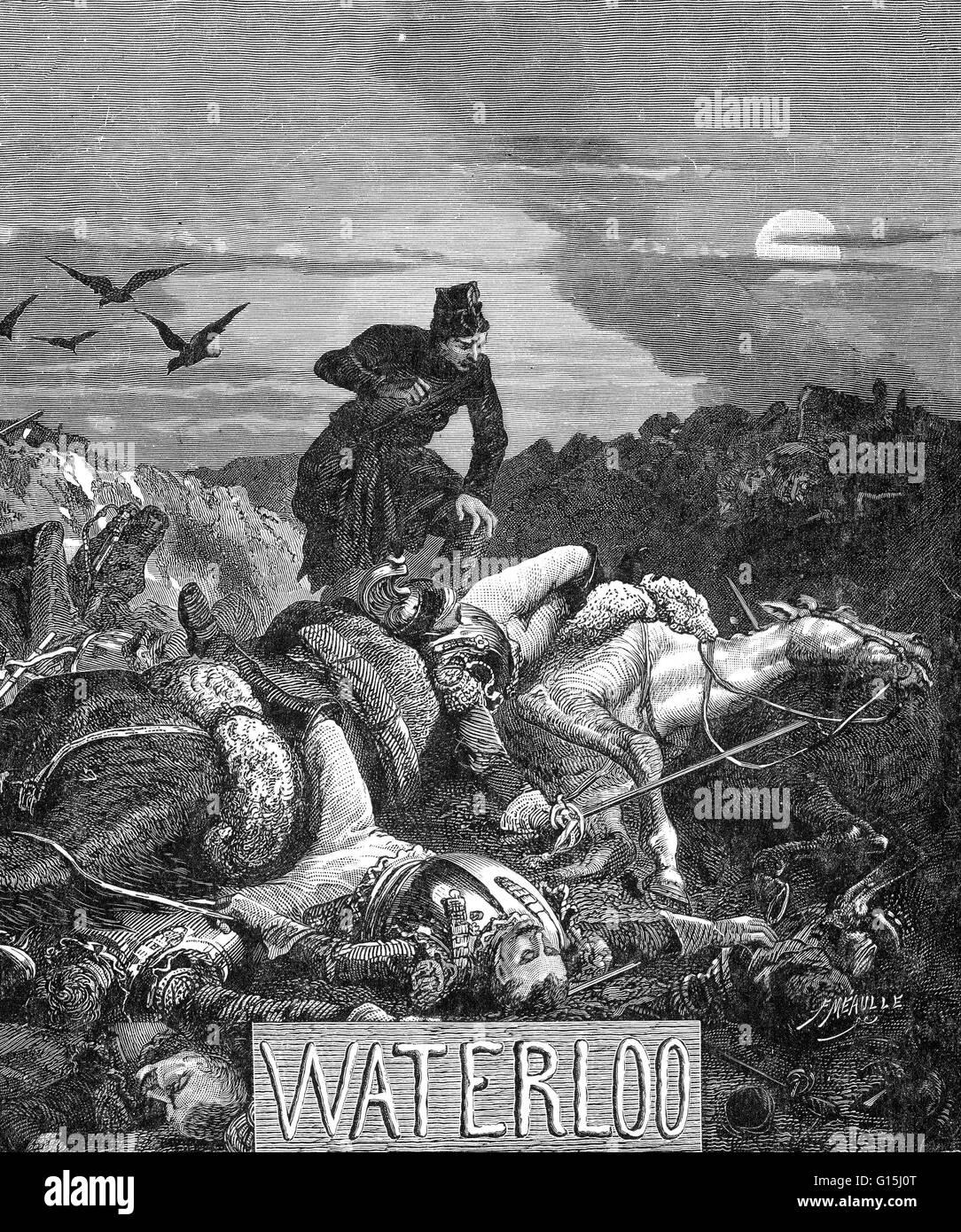 La batalla de Waterloo se libró el 18 de junio de 1815, cerca de Waterloo en la actual Bélgica. Un ejército Imagen De Stock