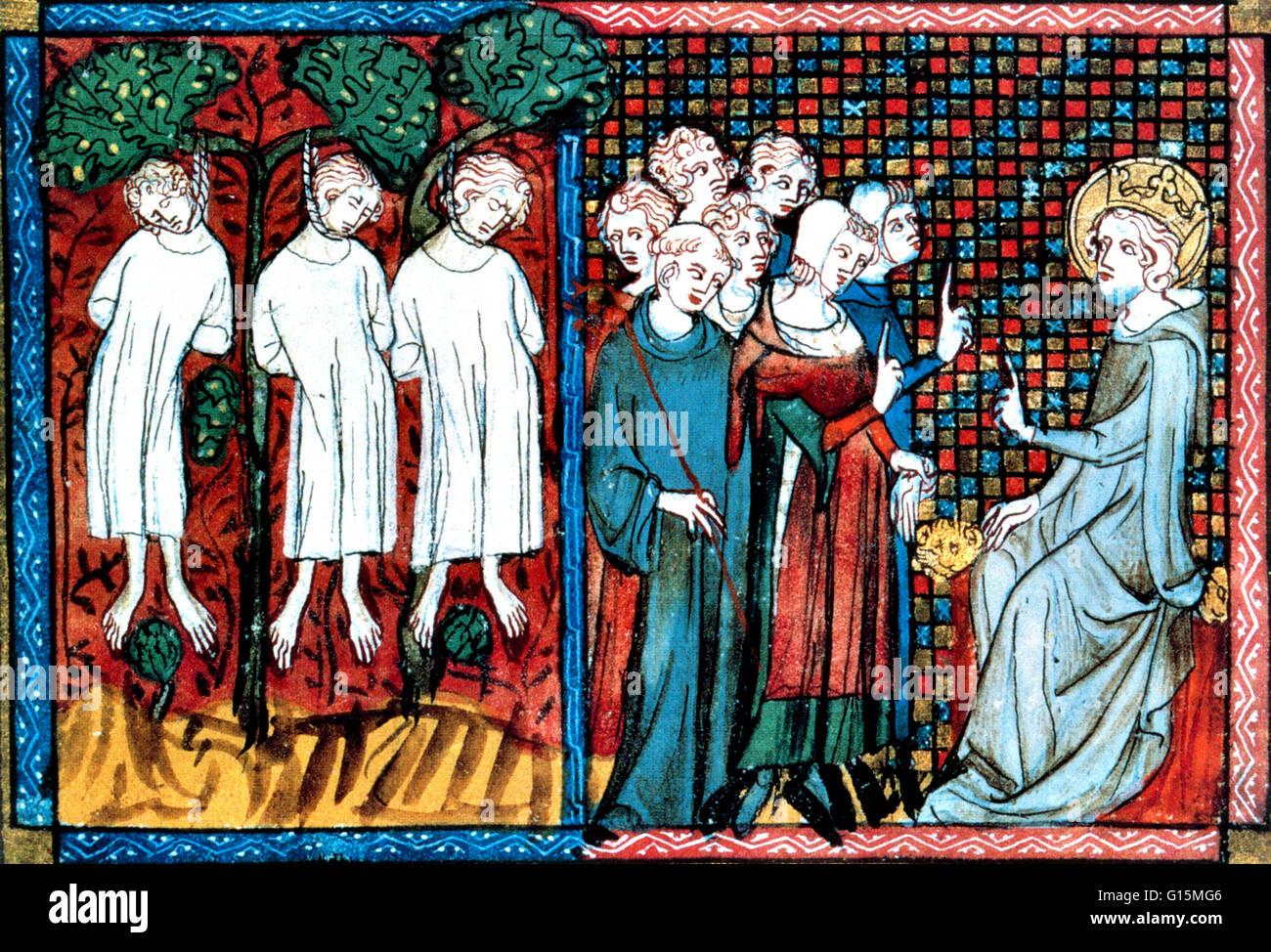 El rey Luis IX de Francia pasa sentencia cuando el abad de San Nicolás-au-Bois acusa a un caballero (Enguerrand De Coucy) indebidamente colgando tres hombres jóvenes. A partir de una ilustración francesa de 1330. Luis IX (25 de abril de 1214 - 25 de agosto de 1270), comúnmente Saint Lo Foto de stock