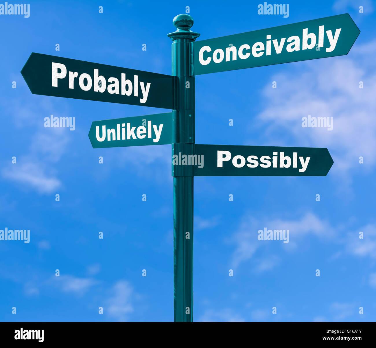 Concepto de opciones. Dirección múltiples signpost mostrando varias opciones contra un cielo azul. Imagen De Stock