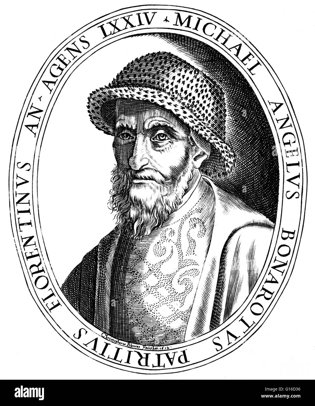 Grabado de Michelangelo por Christoforo Bianchi, 1612. Michelangelo di Lodovico Buonarroti Simoni (6 de marzo de Imagen De Stock