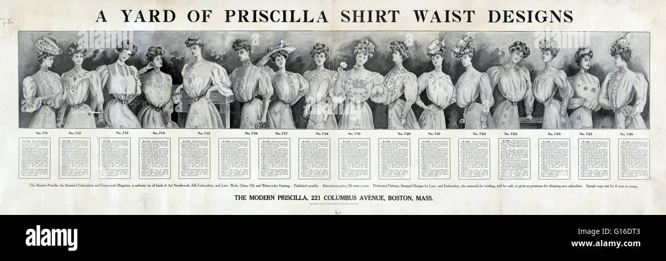 1906 Un anuncio para patrones de costura por el moderno Priscilla ...