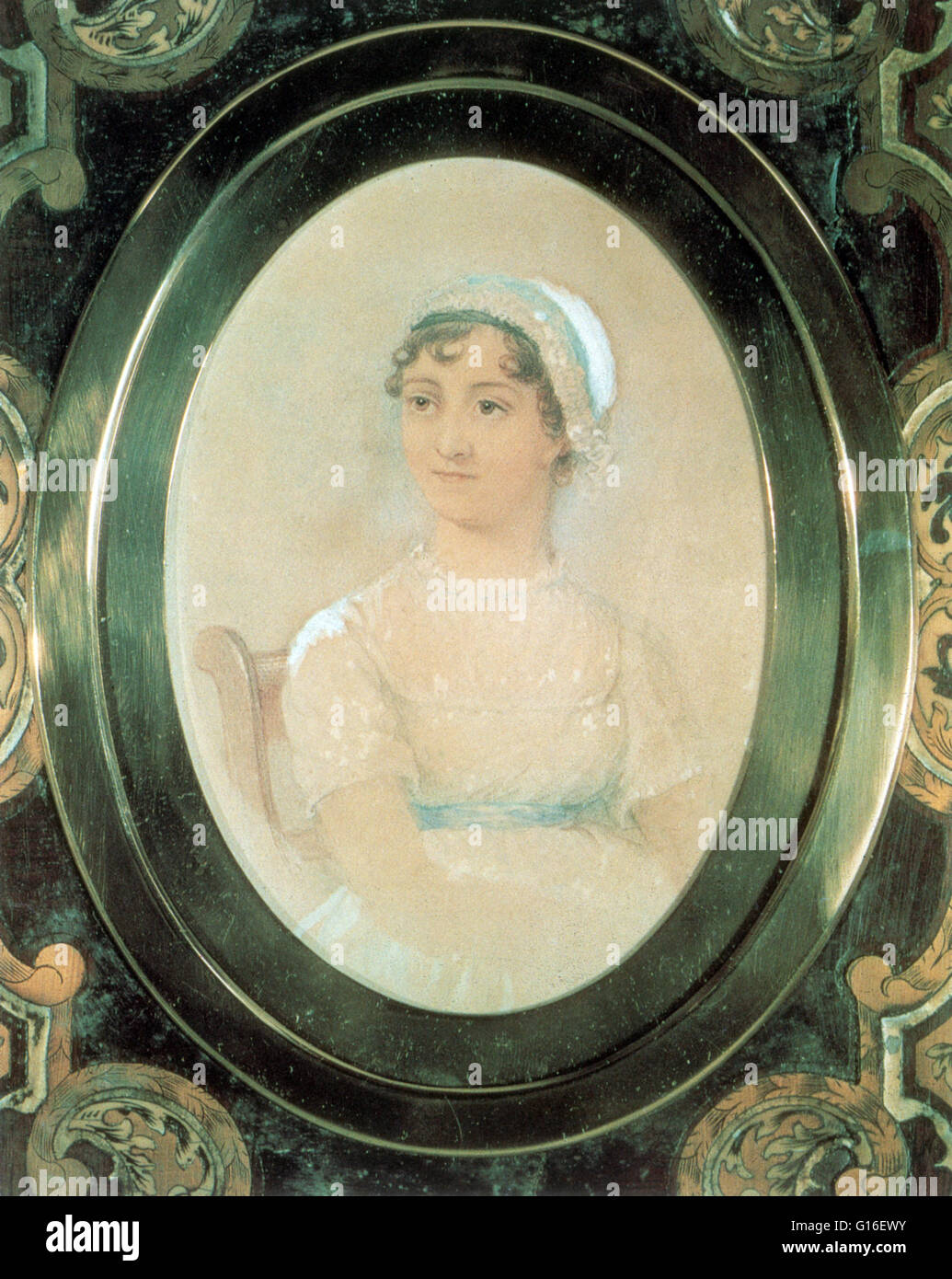 Retrato de Jane's hermana Cassandra. Jane Austen (16 de diciembre de 1775 - 18 de julio de 1817) fue un novelista Imagen De Stock