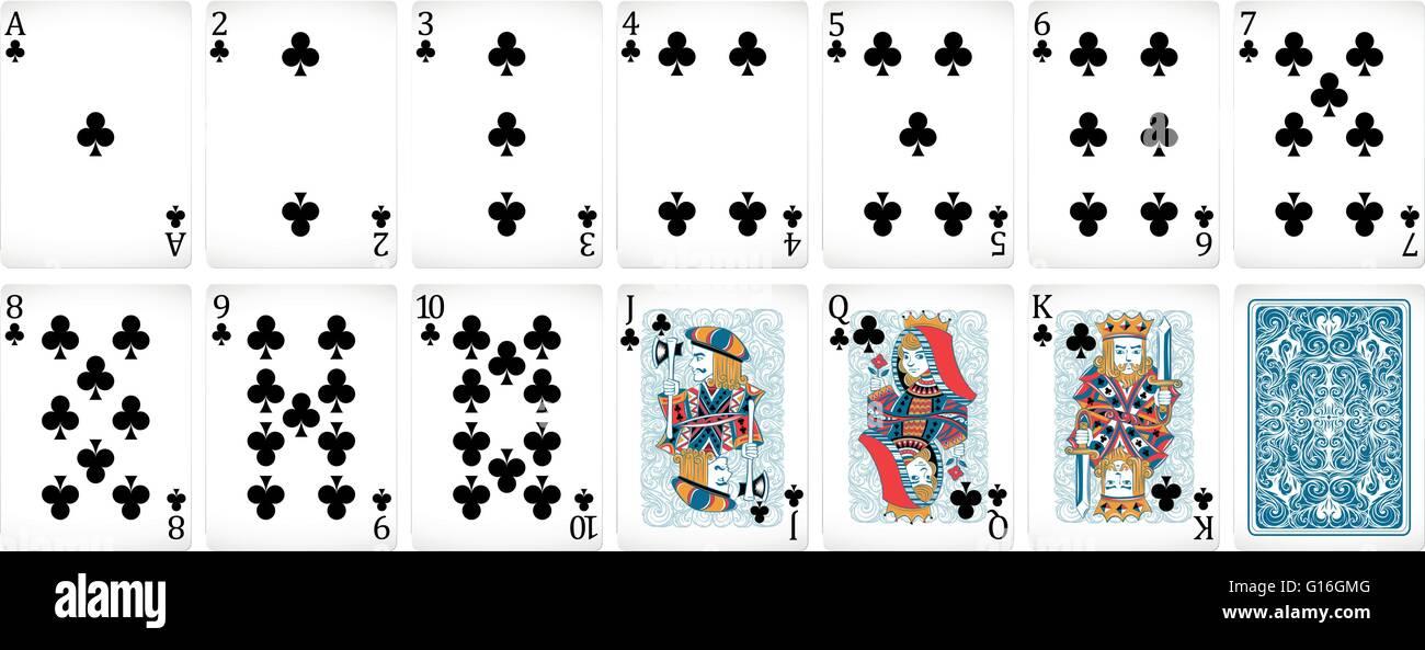 Las cartas de póquer juego de palos Ilustración del Vector