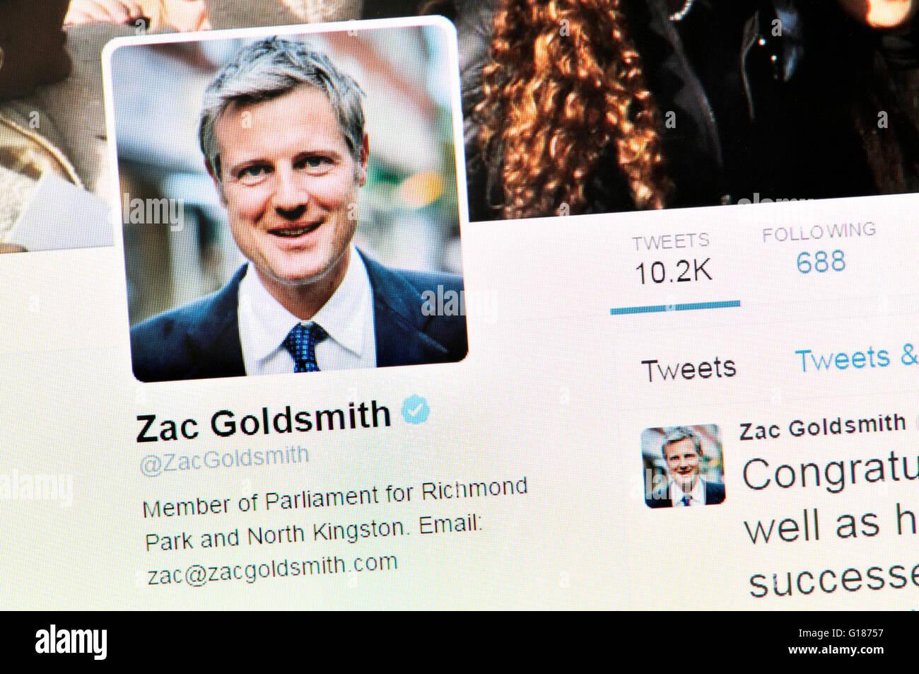 Página de inicio de Twitter screenshot: Zac Goldsmith, MP conservadora y no el candidato a la alcaldía Imagen De Stock