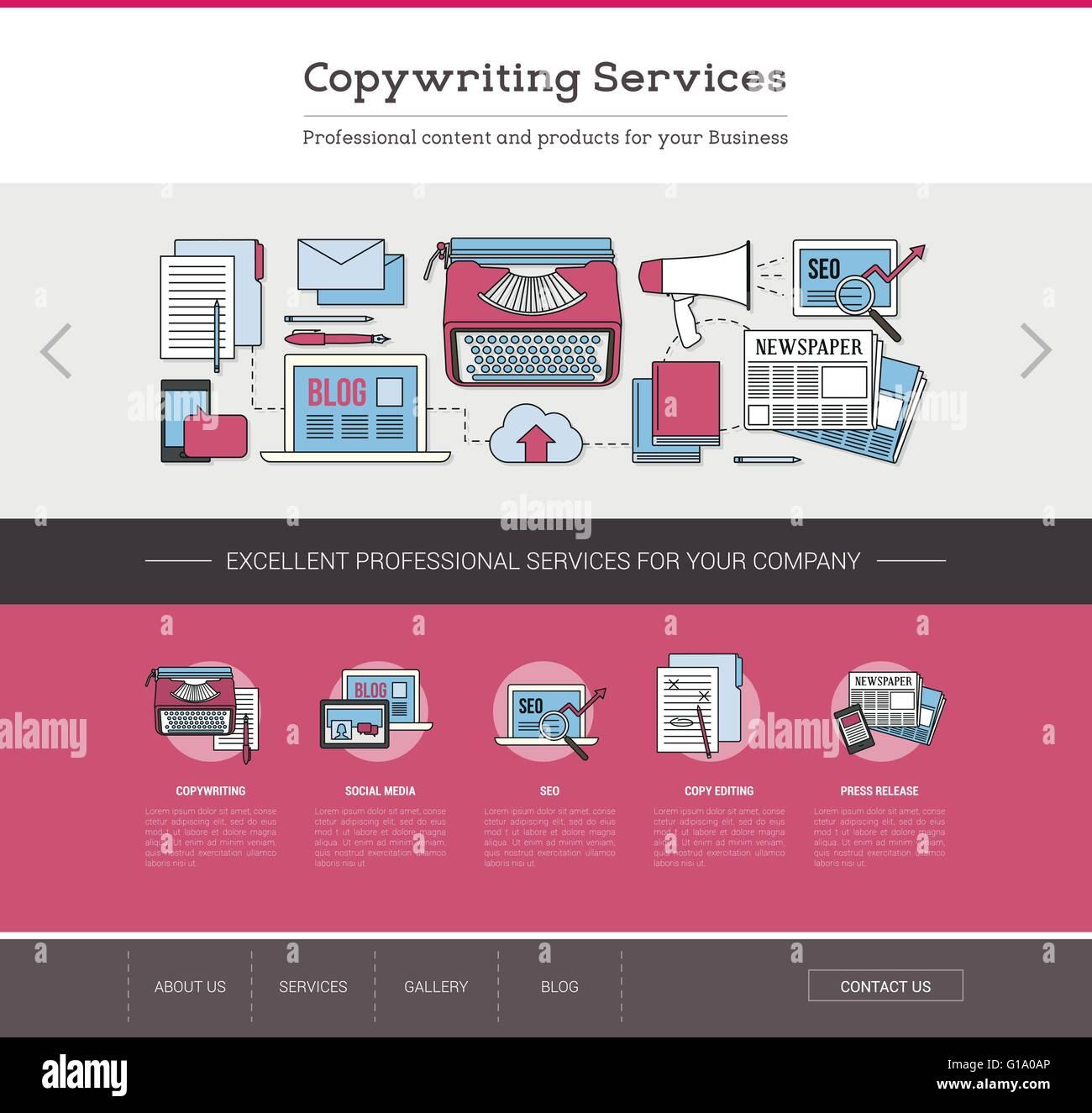 Redacción y edición de plantillas web, SEO, publicación y contenido escrito concepto Imagen De Stock