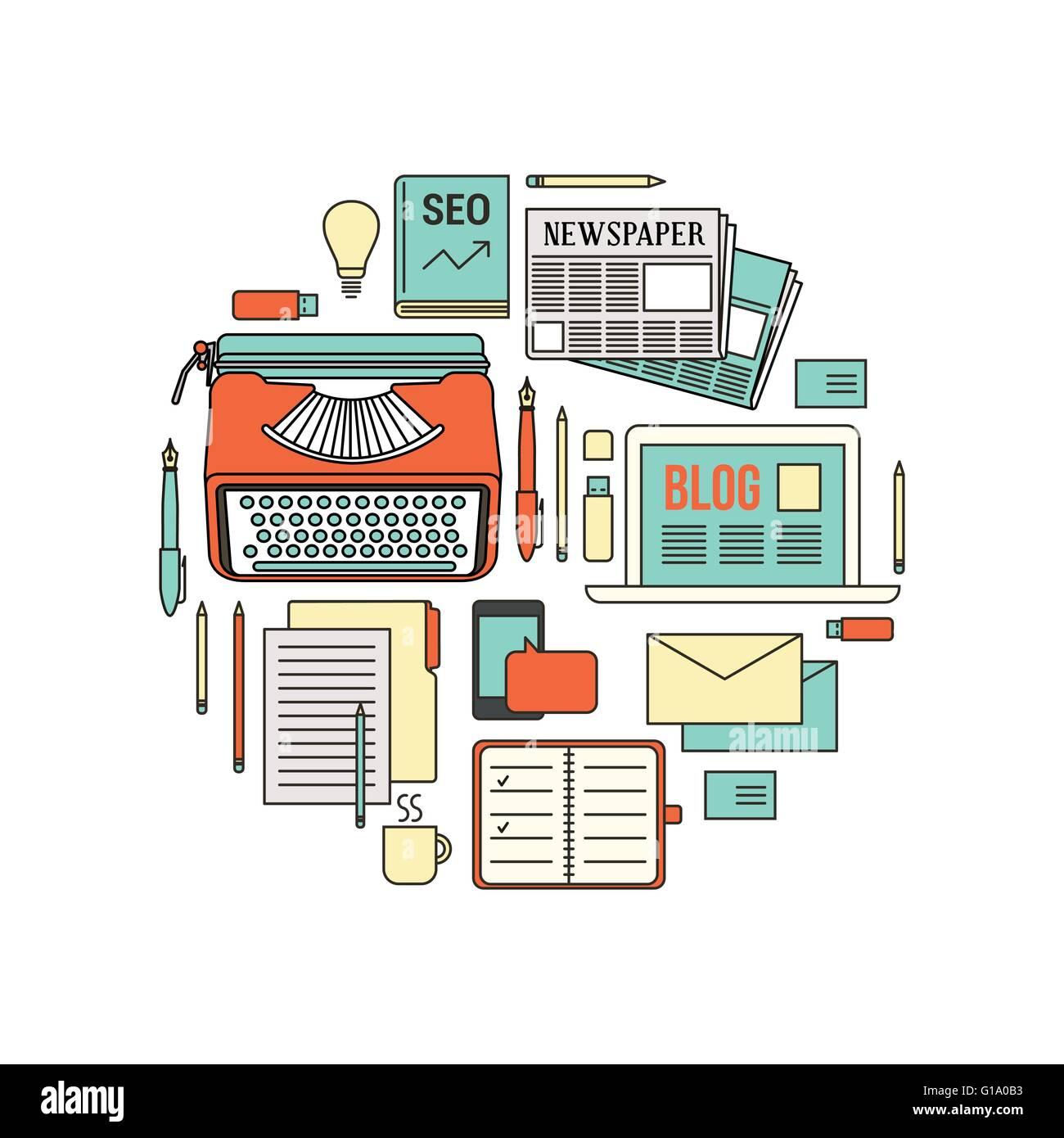 Escritor, blogger y periodista, herramientas de trabajo, objetos de ...