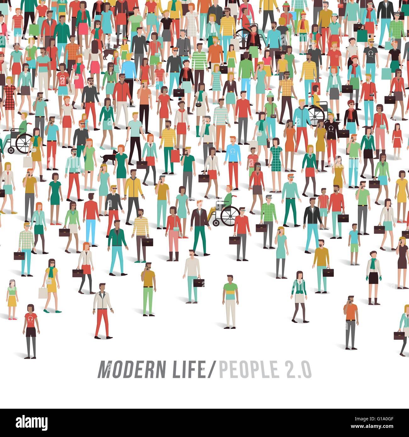Multitud de personas, hombres, mujeres, niños, grupos étnicos diferentes y prendas de vestir, texto y Imagen De Stock