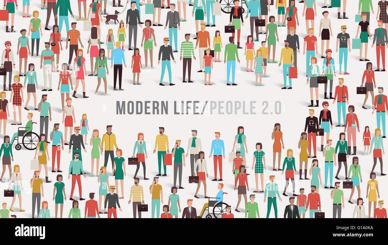 Banner con multitud de personas, hombres, mujeres, niños, grupos étnicos diferentes y discapacidad, copia Imagen De Stock