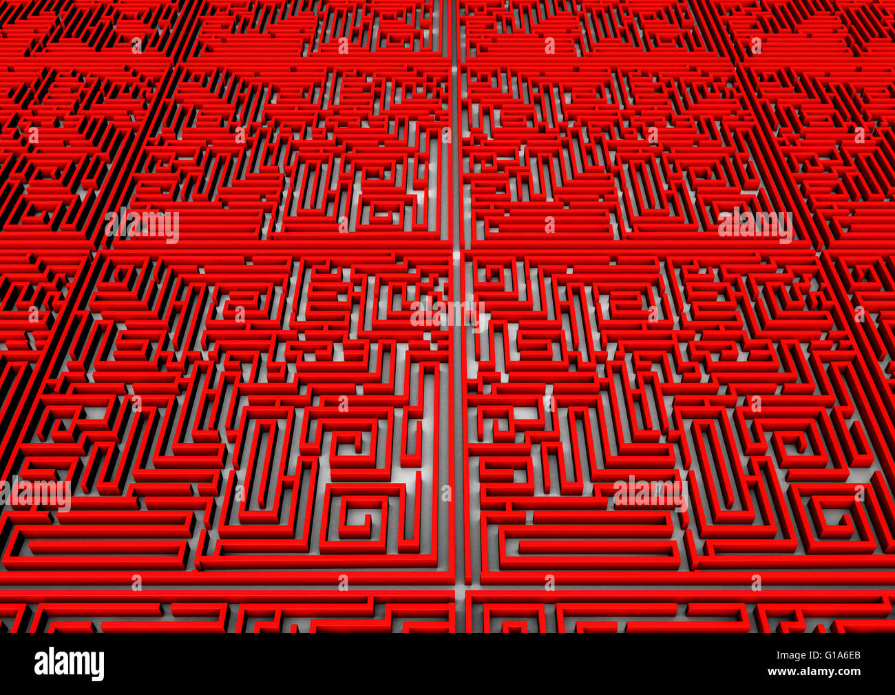 Antecedentes Laberinto / 3D Render de laberinto gigante estirando a horizonte Imagen De Stock