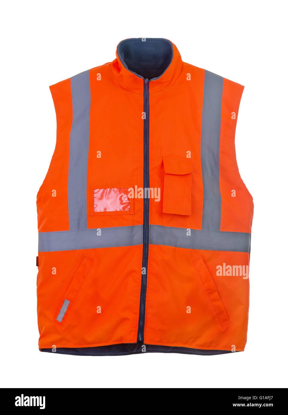 Seguridad chaleco reflectante naranja invierno aislado en blanco Foto de stock