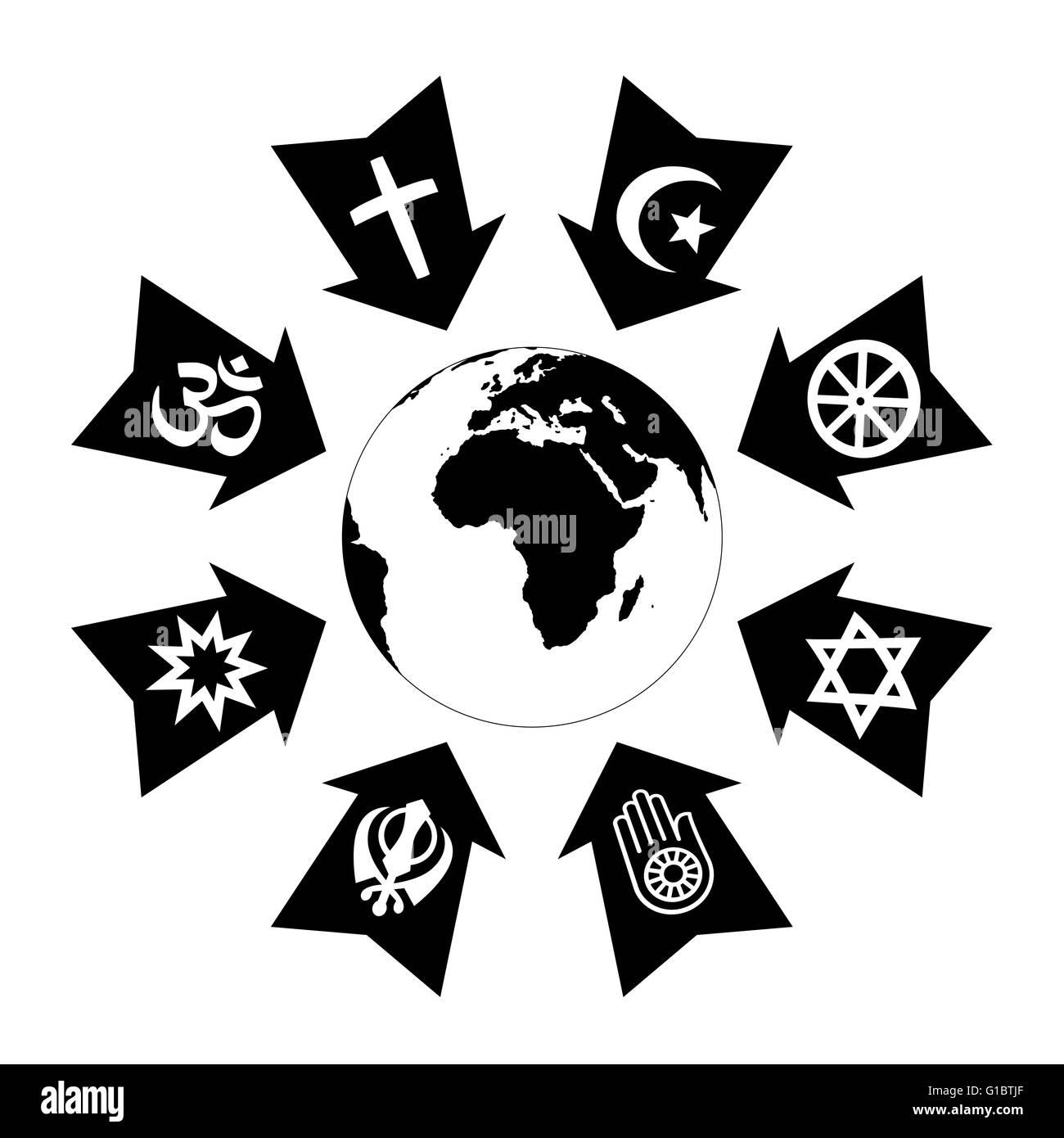 Presión, estrés y el hilo debido a la religión, representados como flechas negras con símbolos religiosos apuntando Foto de stock