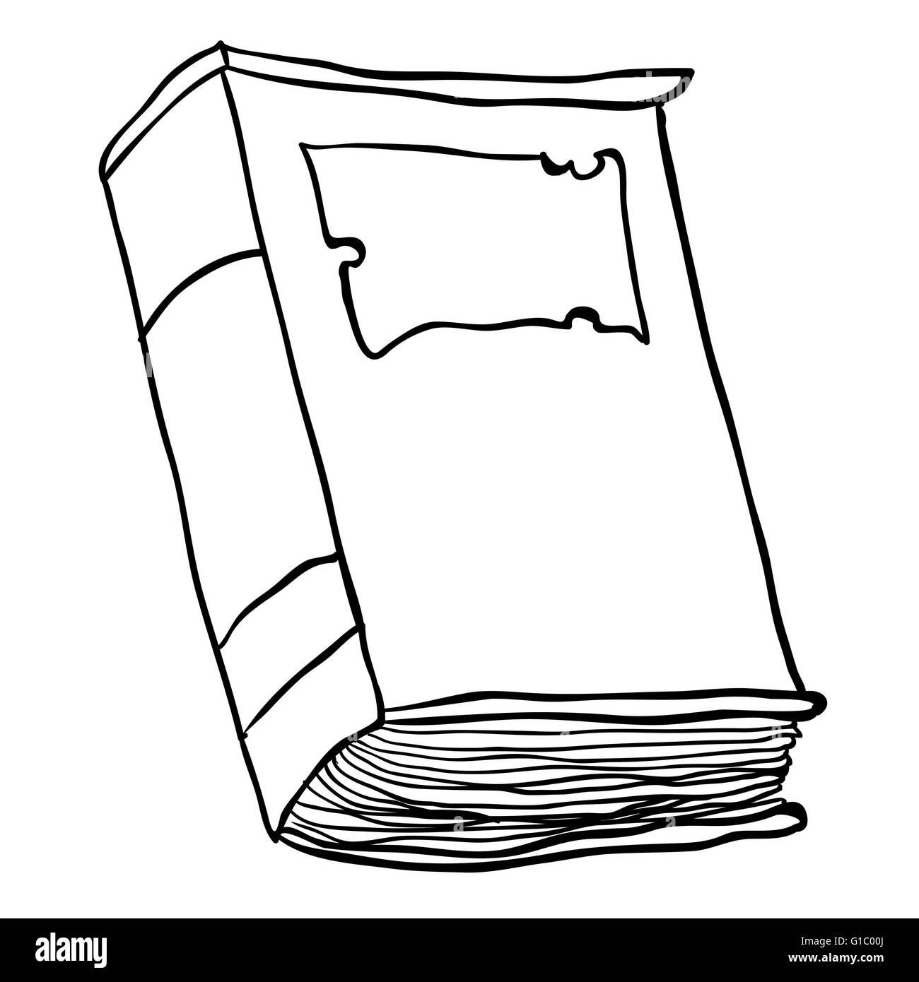 Simple En Blanco Y Negro Viejo Libro De Dibujos Animados Imagen Vector De Stock Alamy