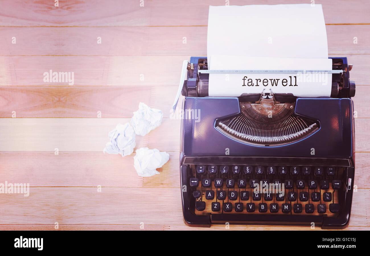 Imagen compuesta de mensaje de despedida sobre un fondo blanco. Imagen De Stock