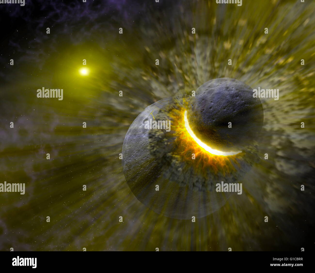Concepto de artista ilustra cómo una colisión masiva de objetos quizás tan grandes como el planeta Imagen De Stock