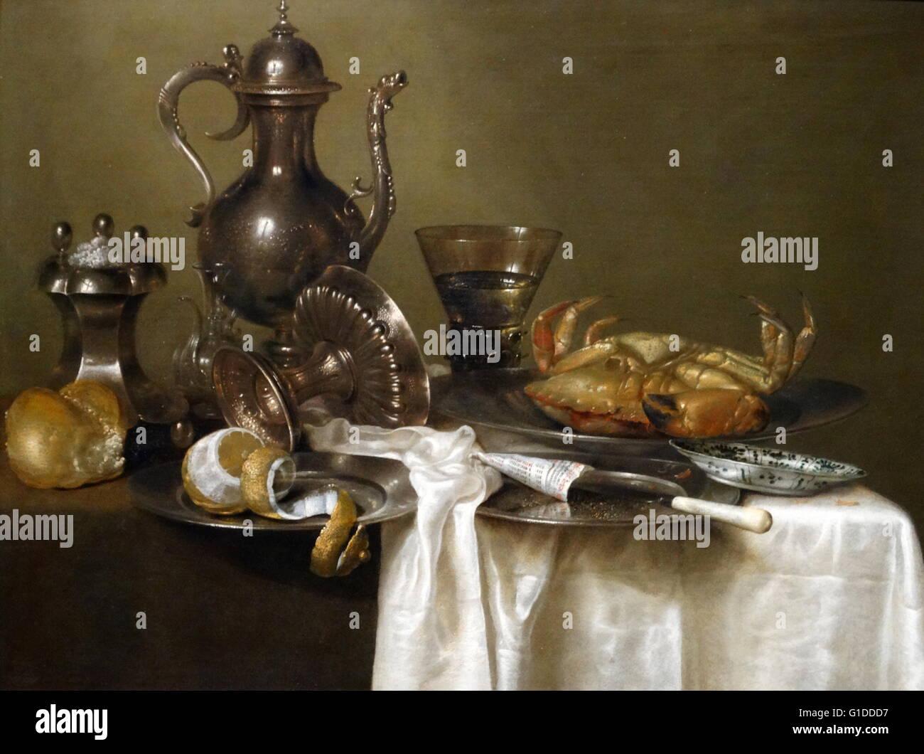 Pintura titulada 'Still Life: Pewter y vasos de plata y un cangrejo' de Willem Claesz. Heda (1594-1680) Imagen De Stock