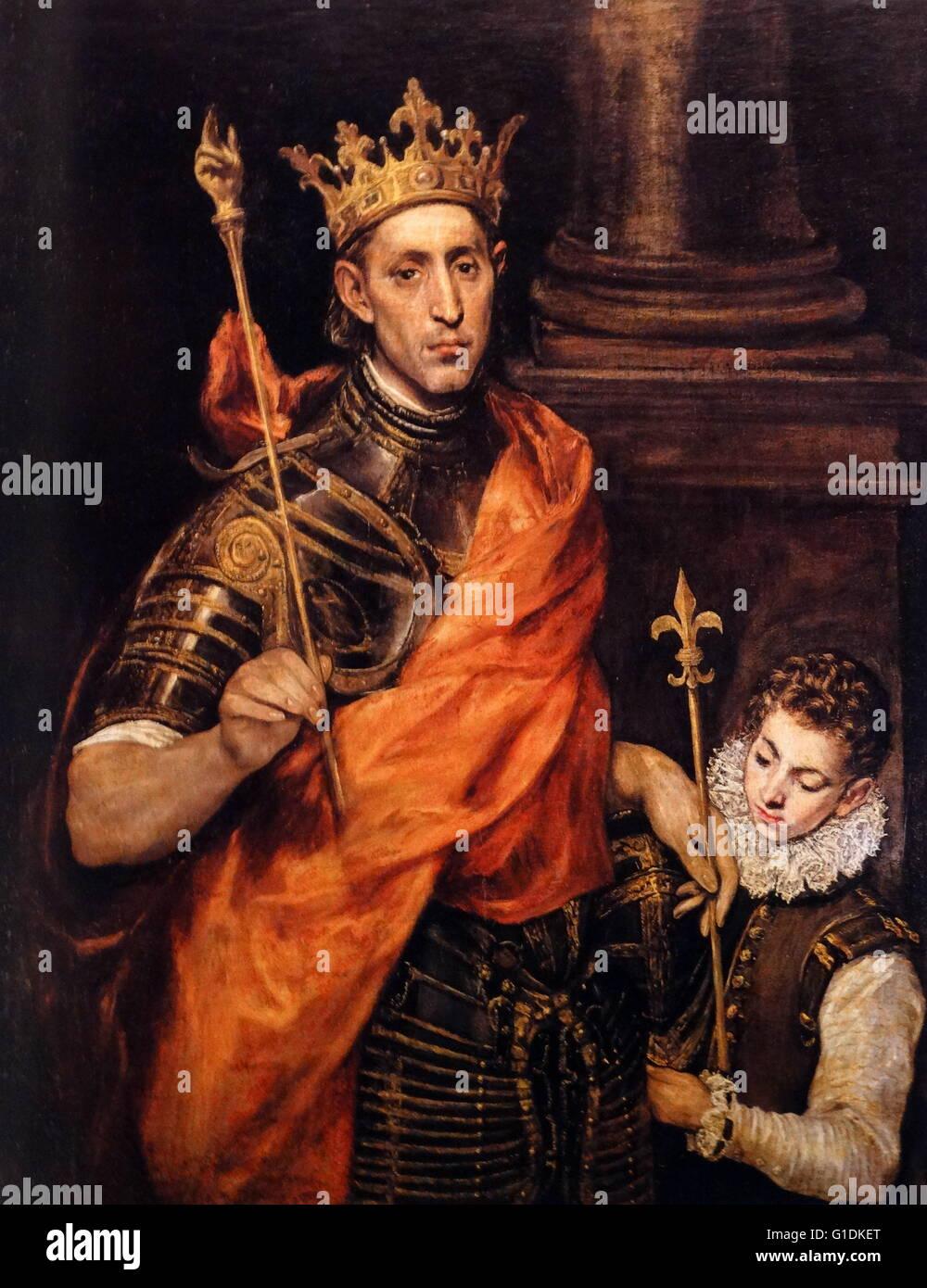 "Pintura titulada ""SAINT-LOUIS, Rey de Francia' de El Greco Foto de stock"