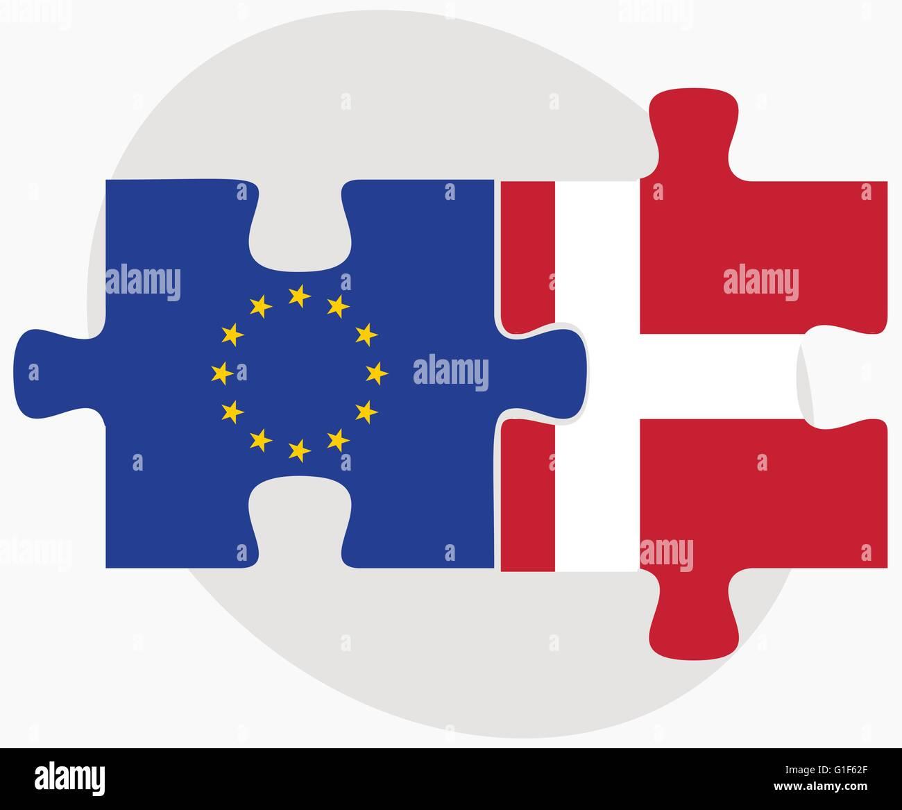 Unión Europea y el Reino de Dinamarca banderas en puzzle aislado sobre fondo blanco. Ilustración del Vector