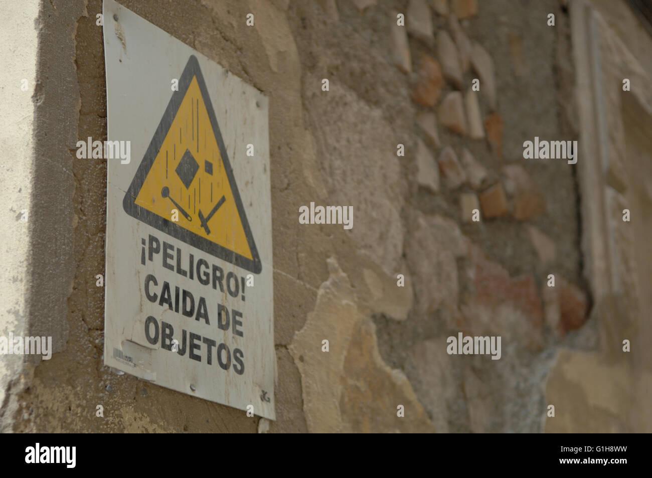 Ten cuidado con la caída de objetos,cuidado,firmar, Malaga,seguridad Imagen De Stock