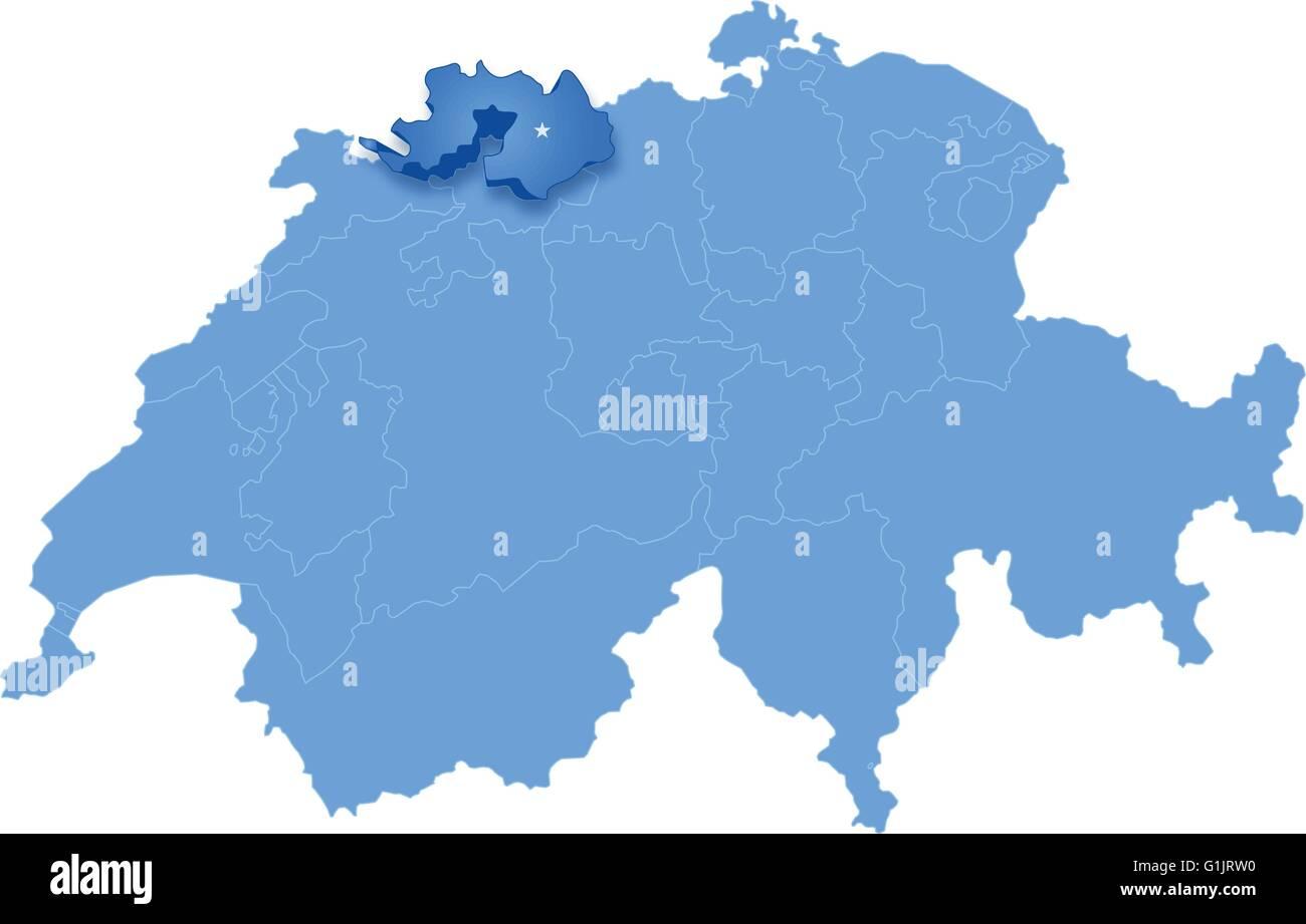 Mapa Politico De Suiza.Mapa Politico De Suiza Con Todos Los Cantones Donde Basilea