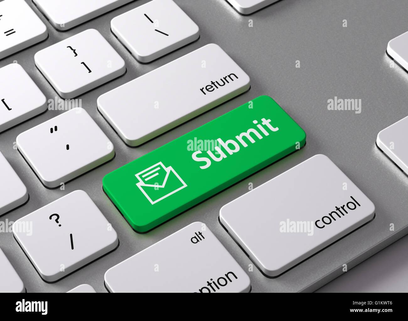 Un teclado con un botón verde Enviar Imagen De Stock