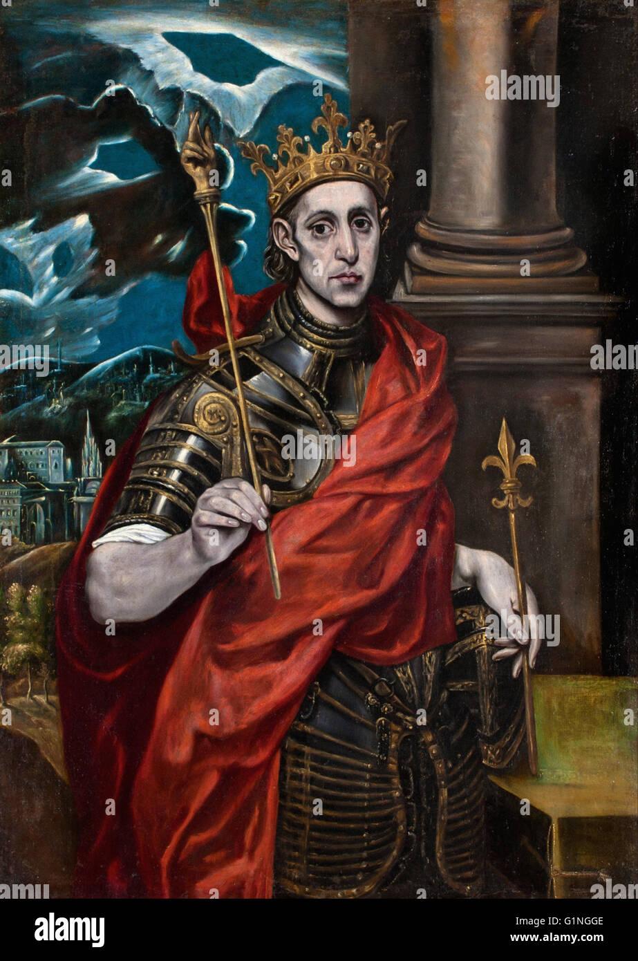 Seguidor del Greco - San Luis, rey de Francia - Museo del Greco Foto de stock