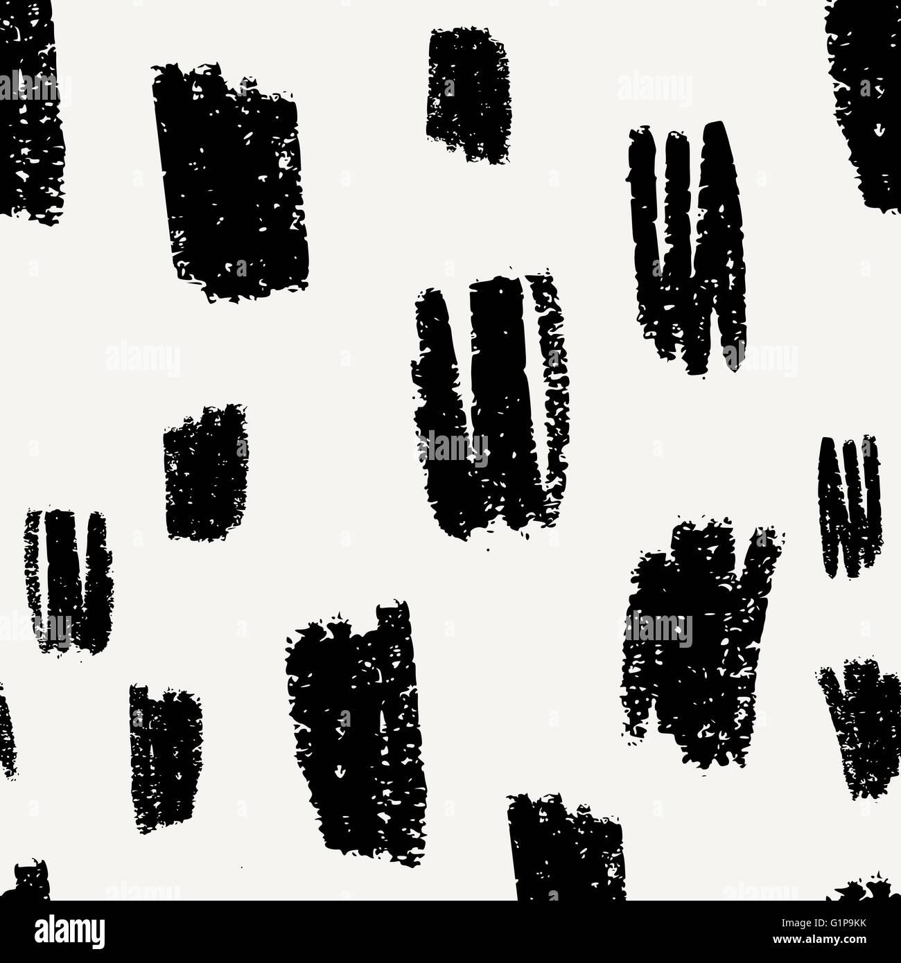 Dibujados a mano patrón abstracto sin costuras en negro y crema ...