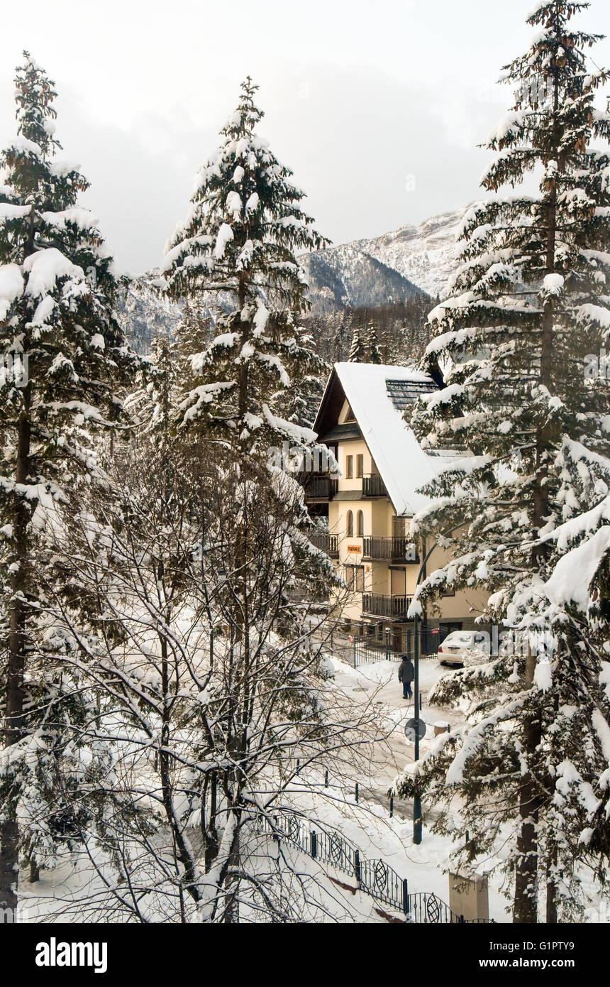 Aldea en la nieve. Fotografiado en Zakopane, Polonia Foto de stock