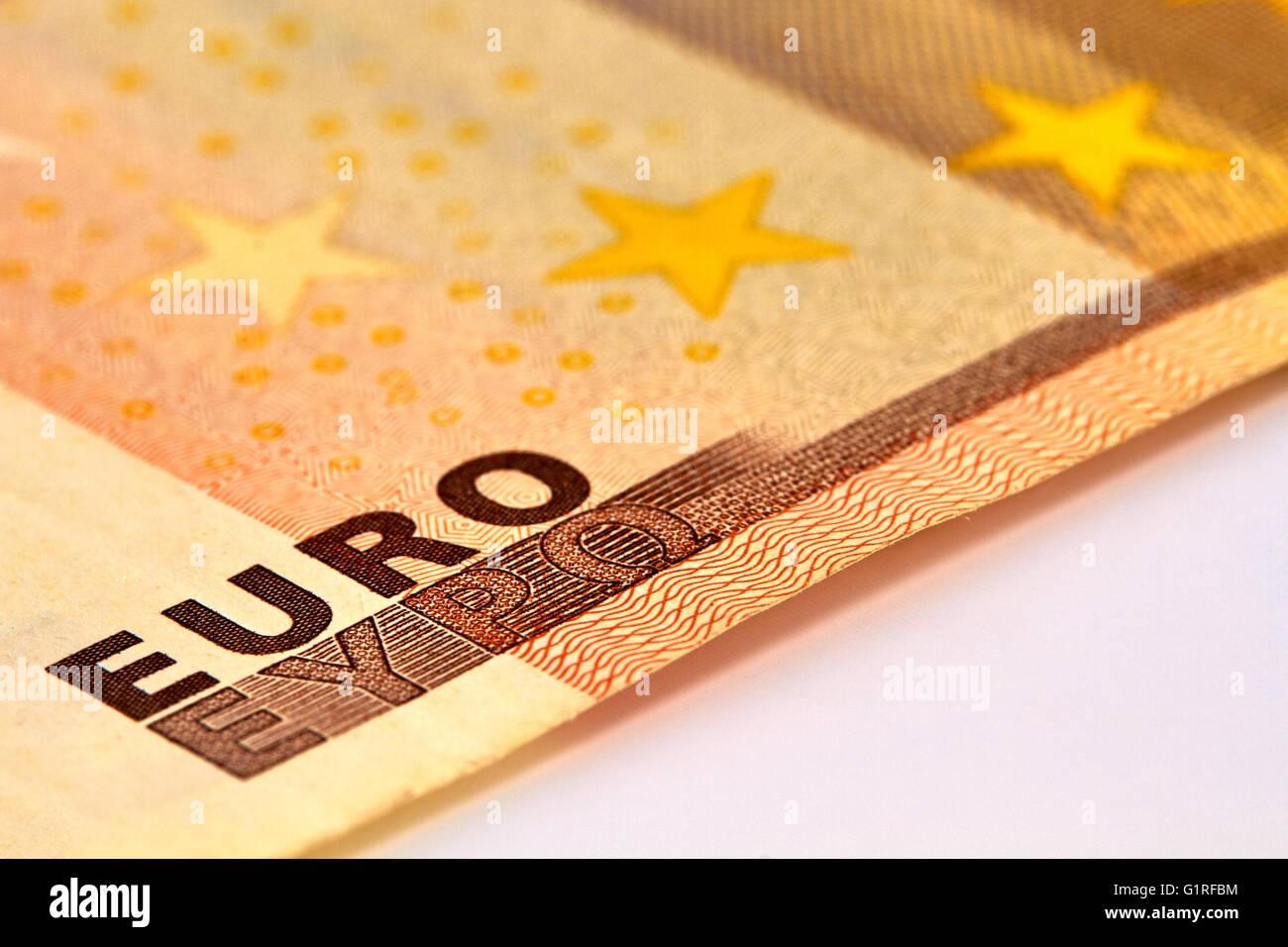 Fondo de dinero con Euro Bill Macro Foto de stock