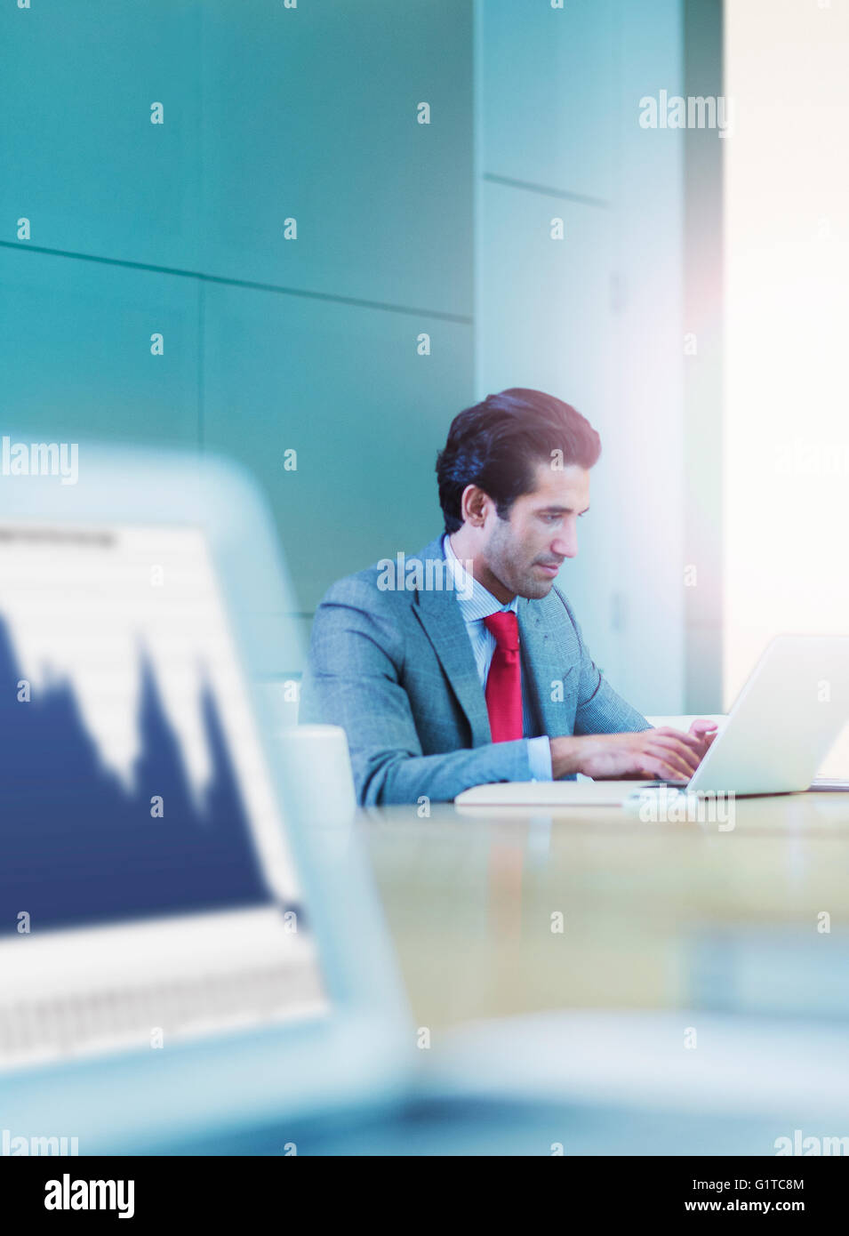 Empresario escribiendo en el portátil en la sala de conferencias Foto de stock