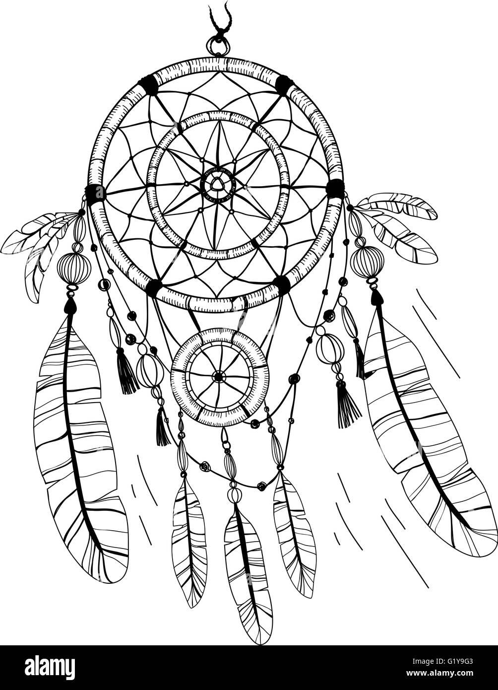 Atrapasueños Plumas Y Abalorios Página Para Colorear Ilustración