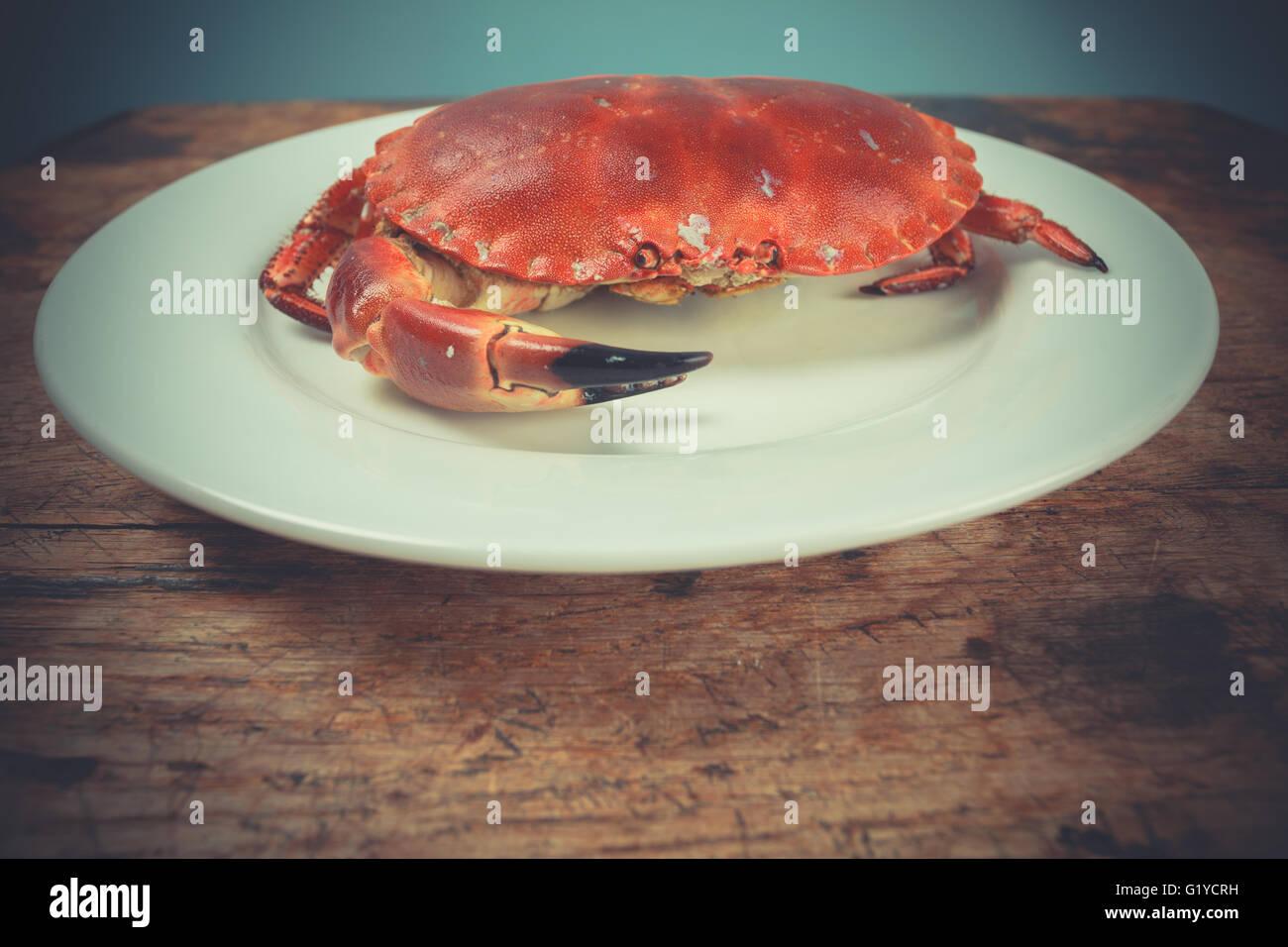 Un cangrejo rojo en una placa Foto de stock