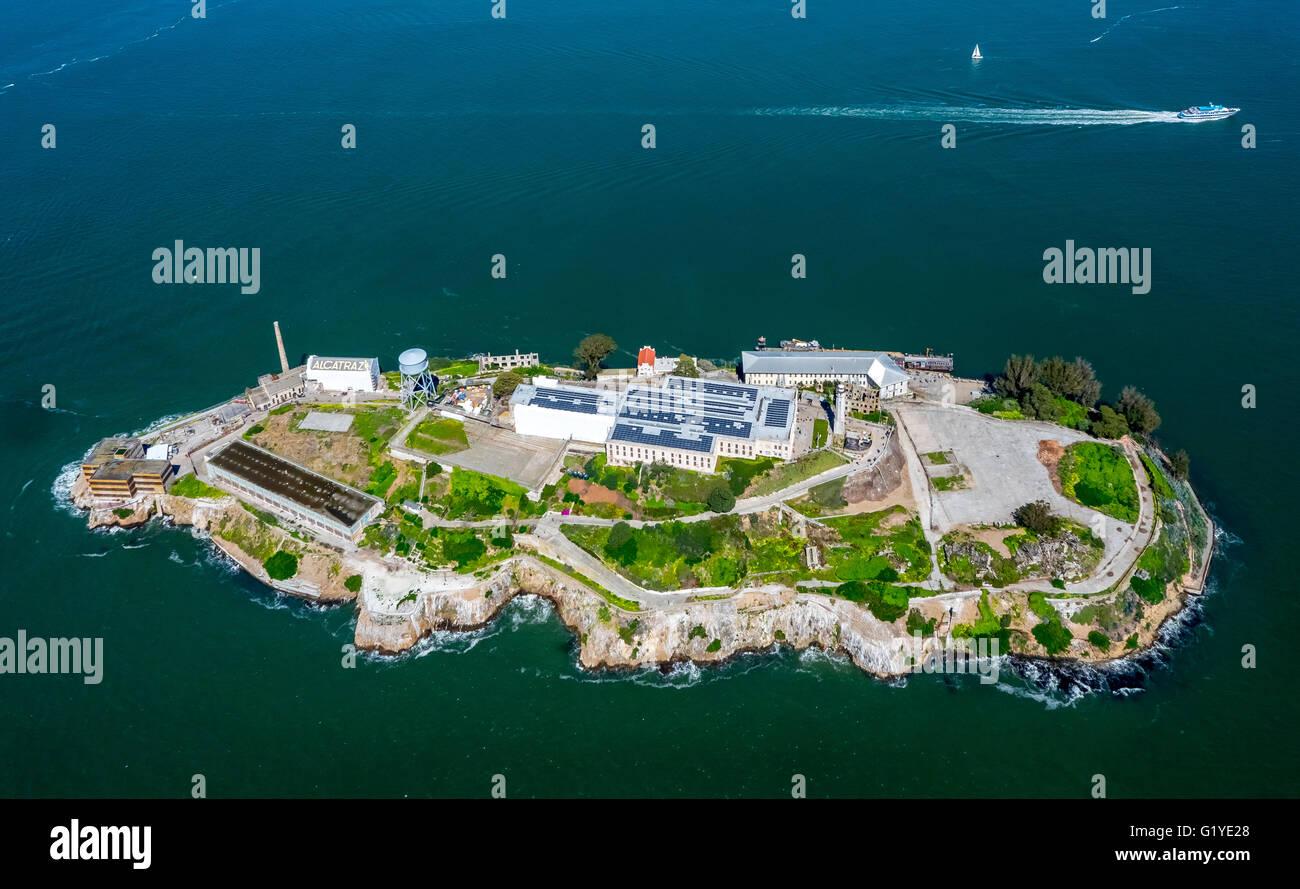 Isla prisión de Alcatraz, la Isla de Alcatraz, vista aérea, San Francisco, San Francisco Bay Area, California, EE.UU. Foto de stock