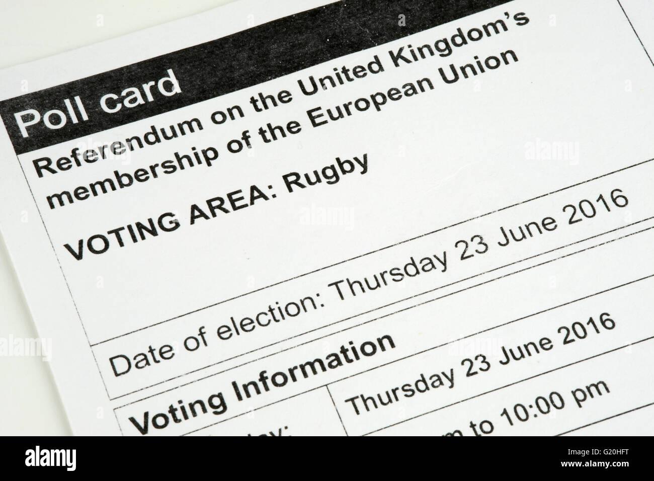 Tarjeta de votación para el referéndum sobre la participación del Reino Unido en la Unión Europea Imagen De Stock