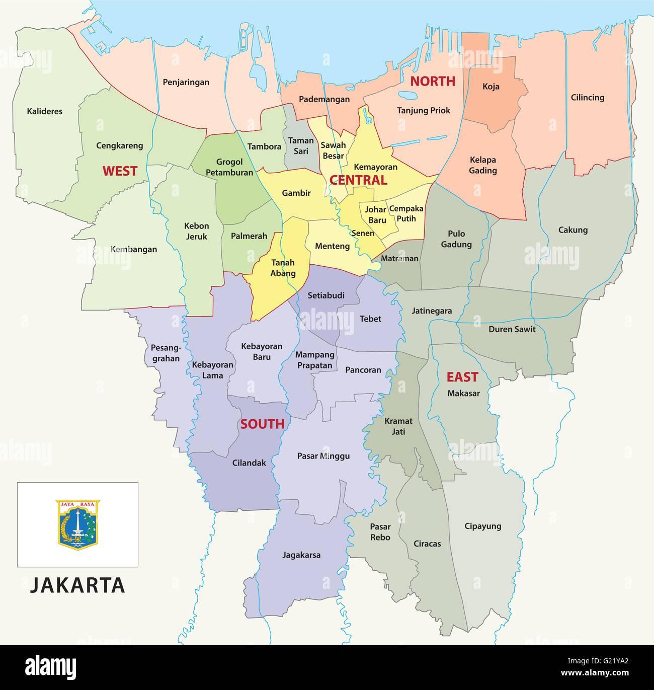 Mapa Administrativo De Yakarta Con Bandera Ilustracion Del Vector