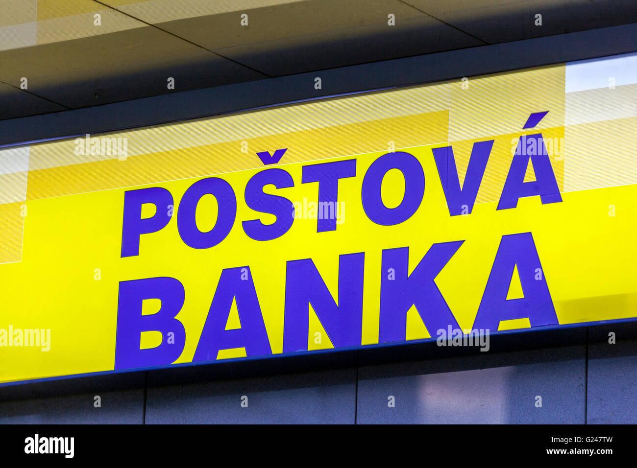 Signo Postova Banka, Eslovaquia, Europa Foto de stock
