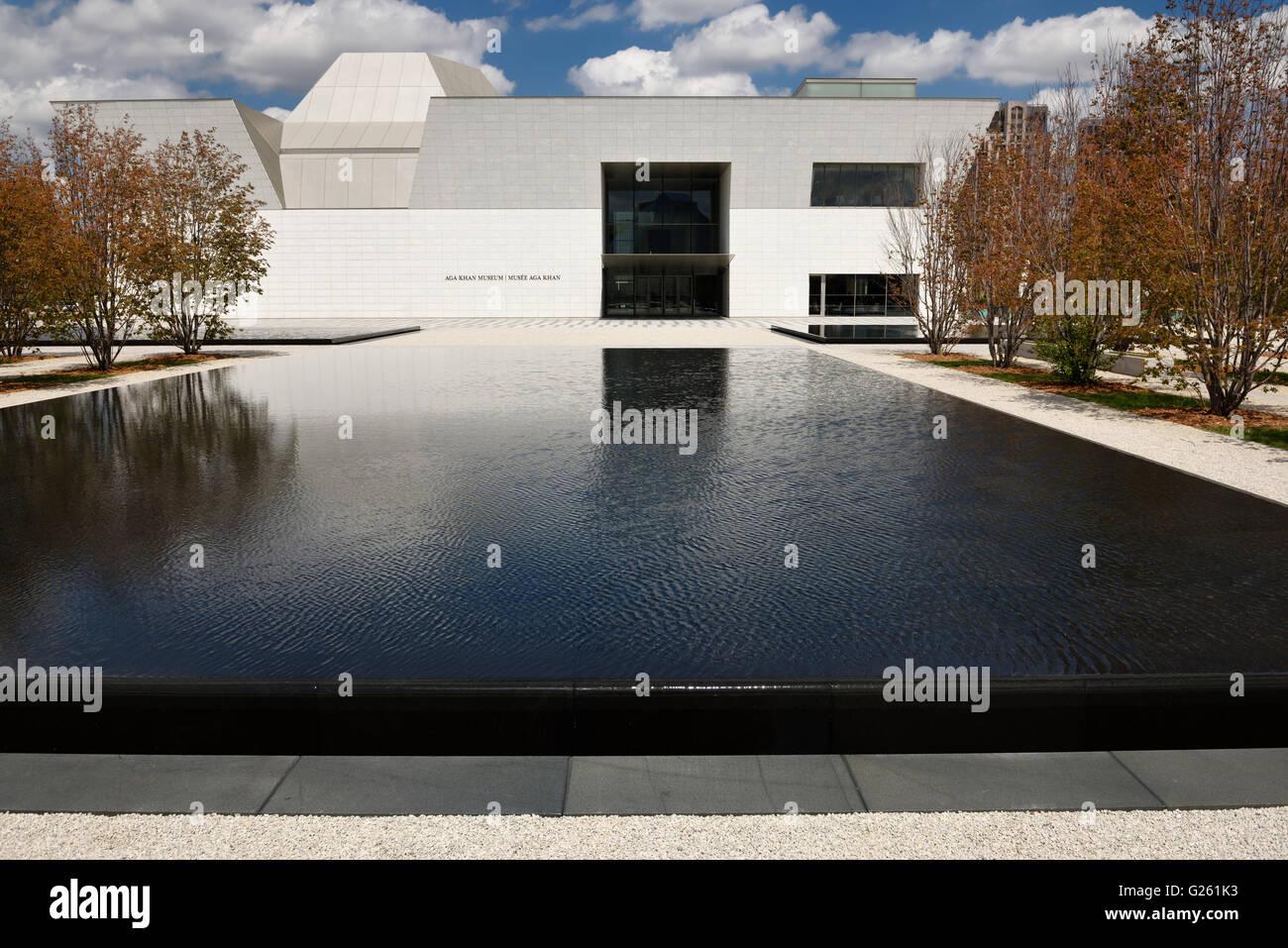 La moderna arquitectura del museo Aga Khan puerta delantera y piscinas negra en la primavera de Toronto Imagen De Stock