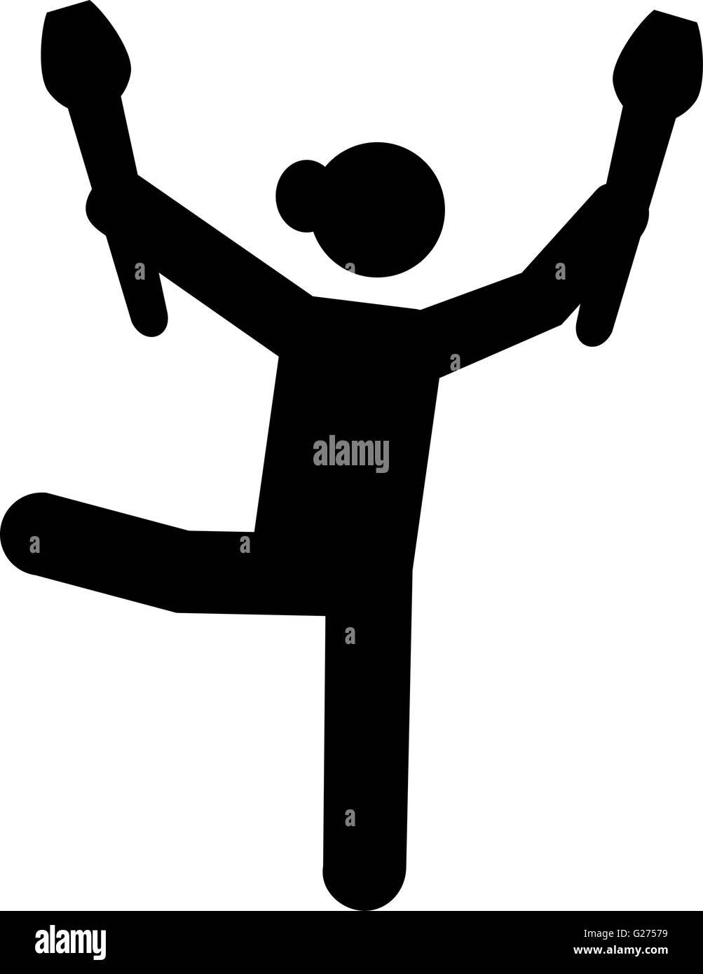 Clubs de gimnasia con el pictograma. Ilustración del Vector