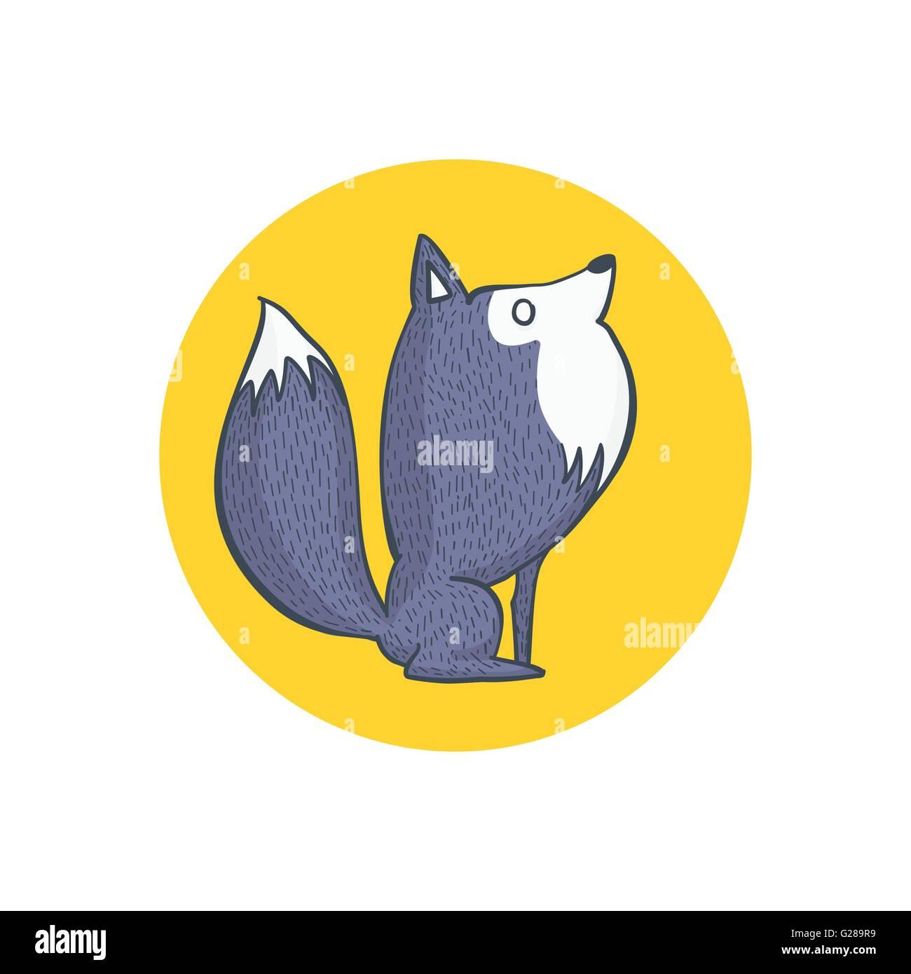 Ilustración Vectorial De Lobo Gris Y Luna Llena Personaje De