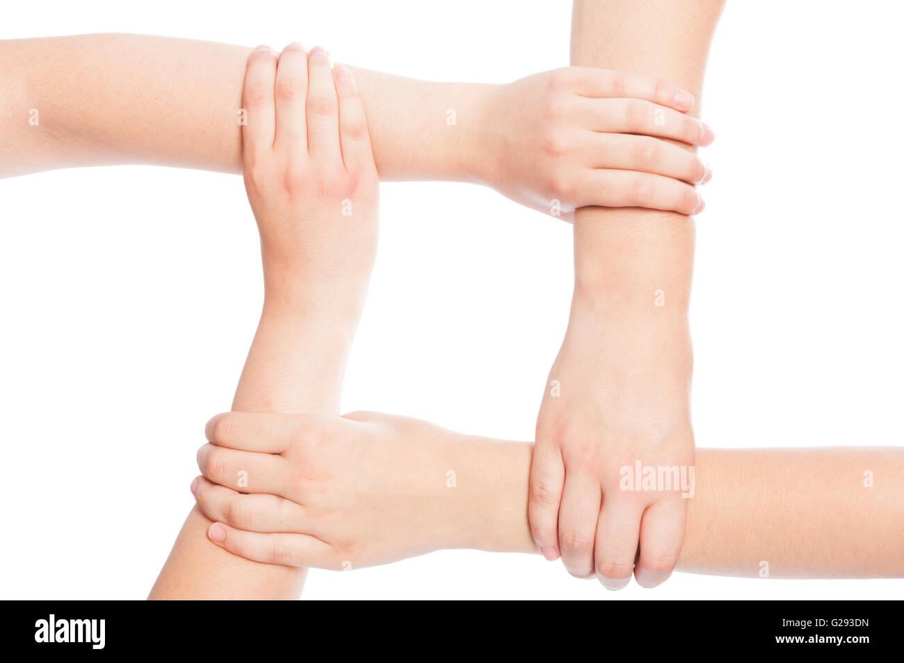 Cuatro manos se unió aislado sobre fondo blanco. Imagen De Stock