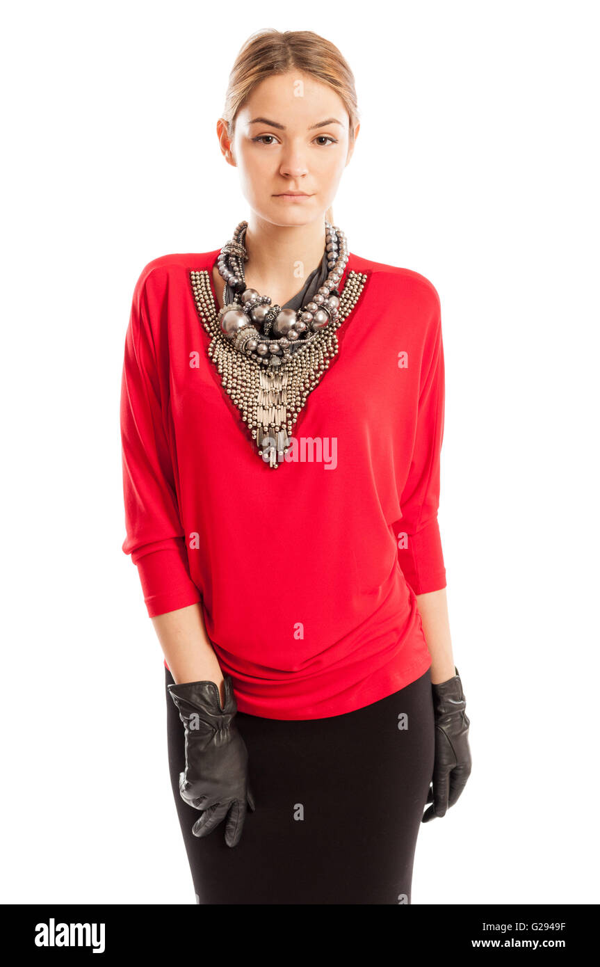 6f2eb94f1 Joven Modelo Femenino Con Blusa Roja Imágenes De Stock & Joven ...
