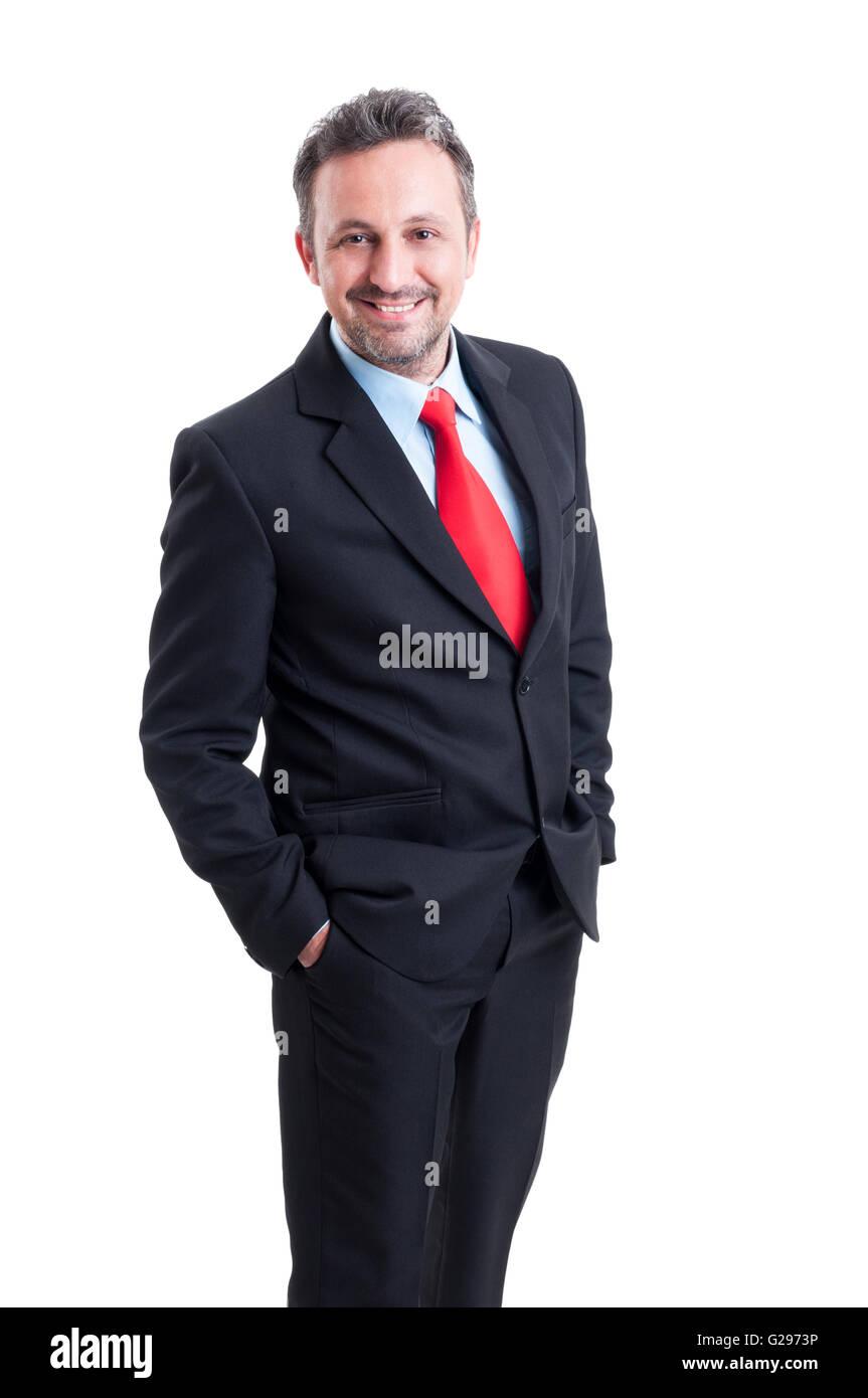Traje negro hombre corbata azul