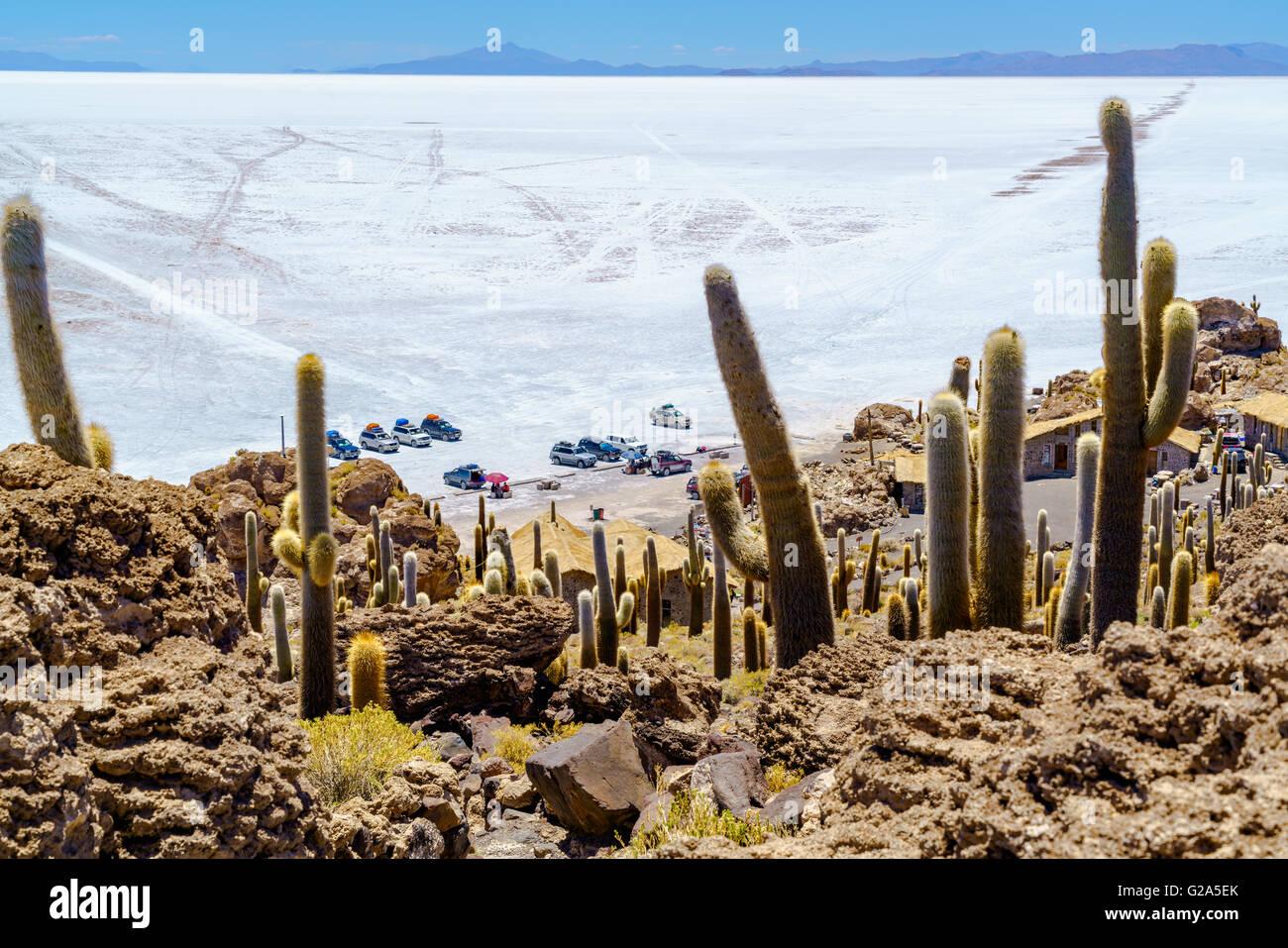 Los turistas aparcamiento en la Isla Incahuasi en Salar de Uyuni Salar para visitar y almorzar Imagen De Stock
