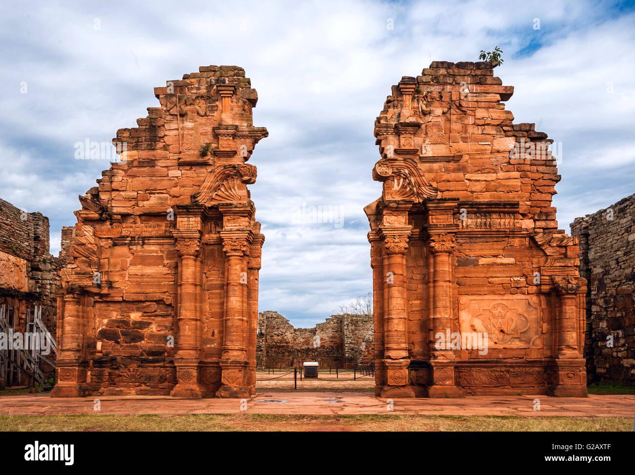 San Ignacio-Mini misión fundada en 1632 por los jesuitas, Provincia de Misiones, Argentina Imagen De Stock