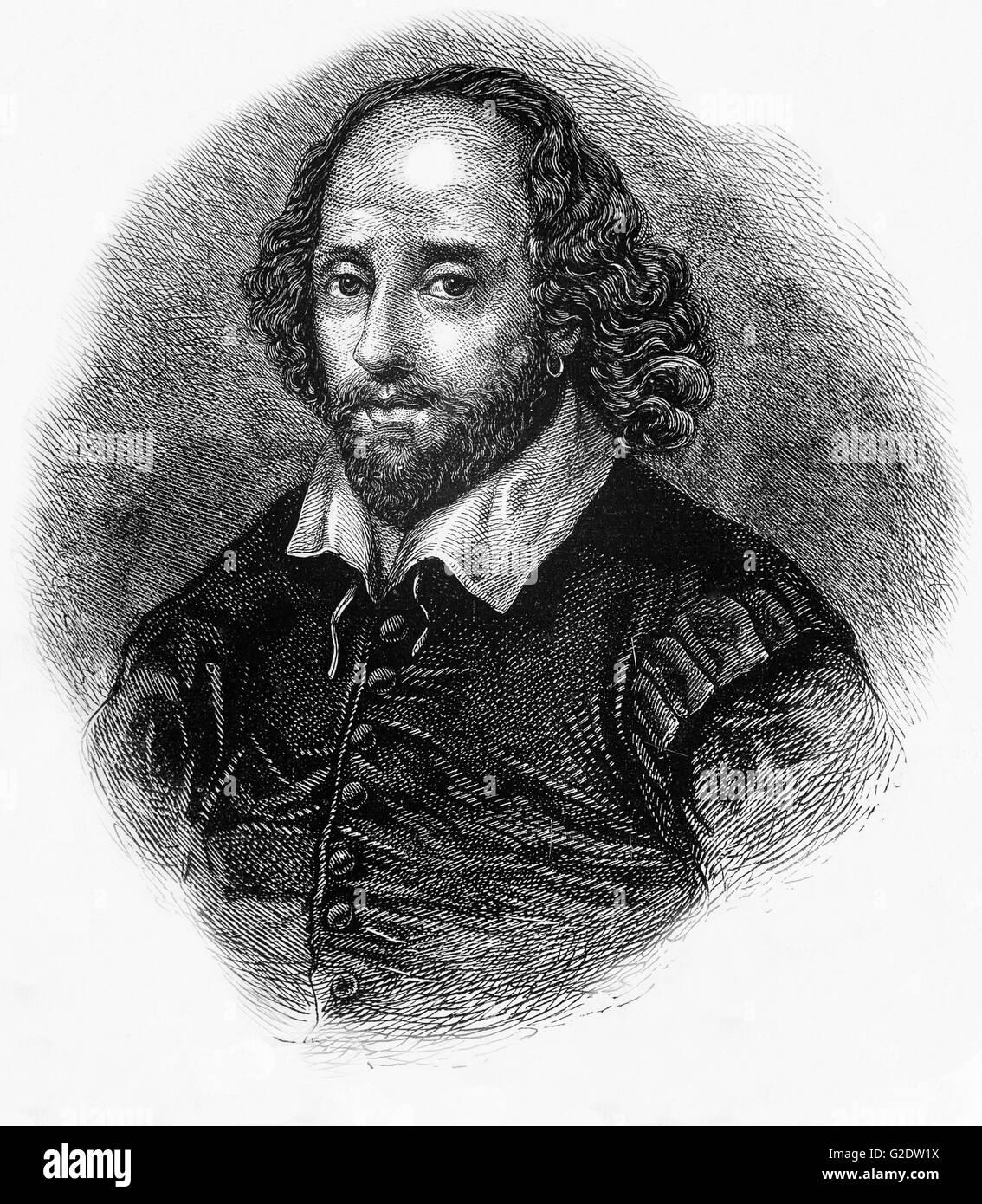 """William Shakespeare (1564 - 1616), poeta inglés, dramaturgo y actor, ampliamente considerado como el más grande escritor en lengua inglesa y el mundo de la pre-eminente dramaturgo; a menudo llamado el poeta nacional de Inglaterra, y el """"bardo de Avon"""" Foto de stock"""