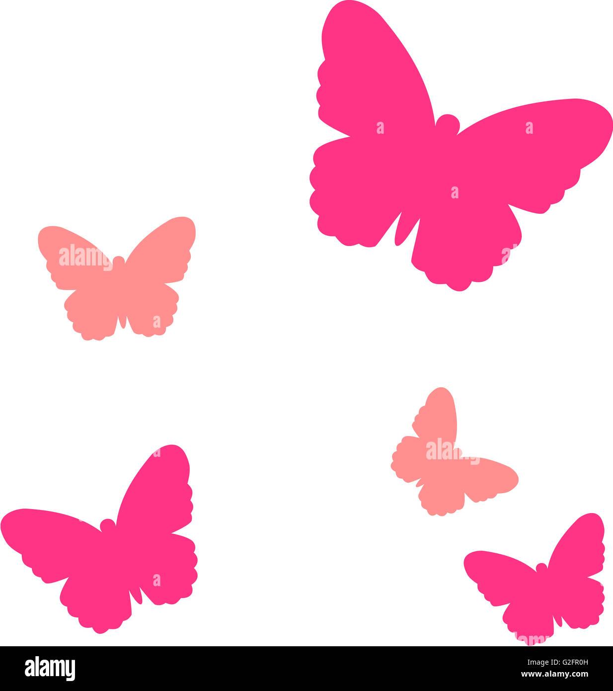 Conjunto de cinco mariposas Foto de stock