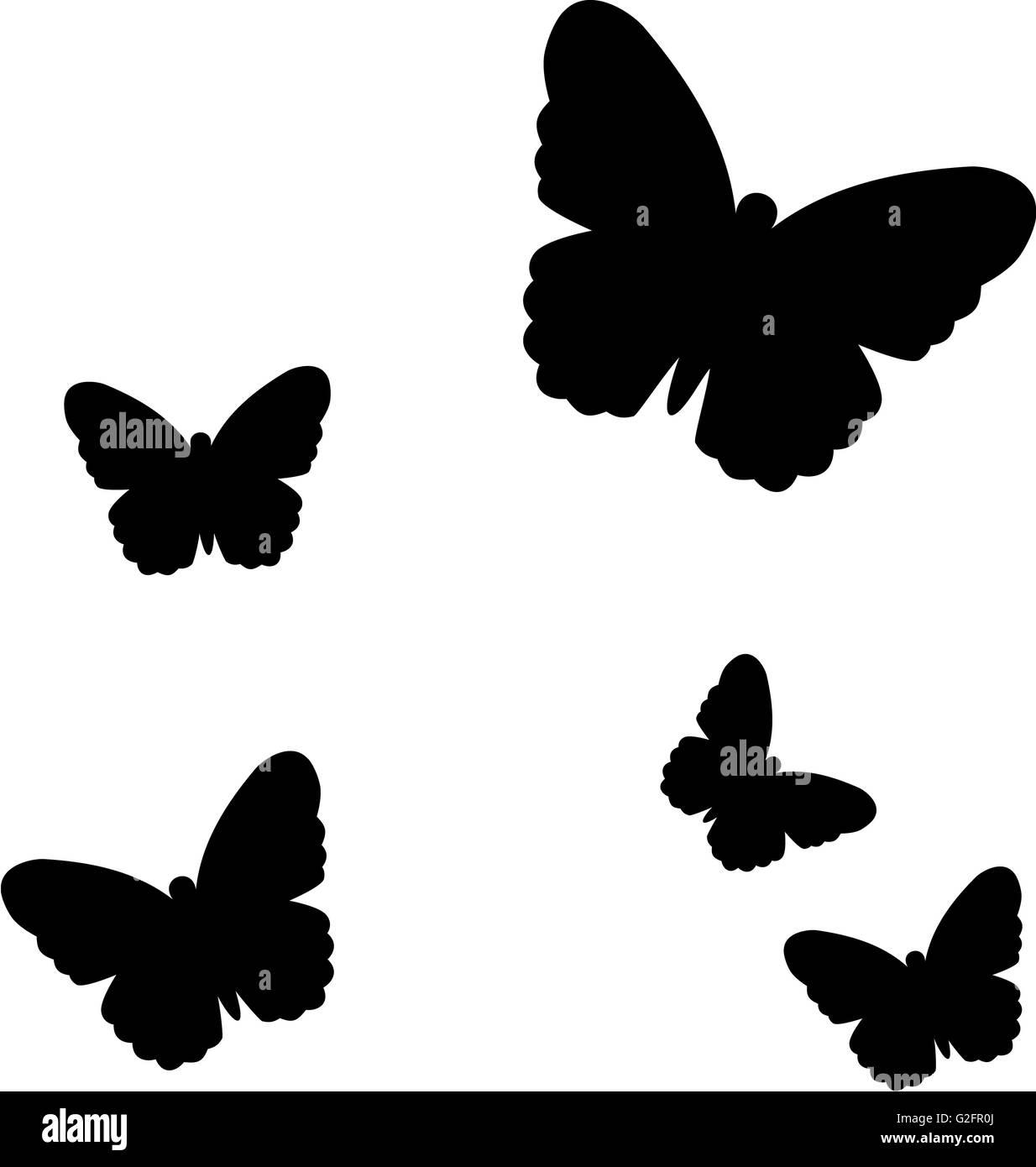 Negro mariposas volando Foto de stock