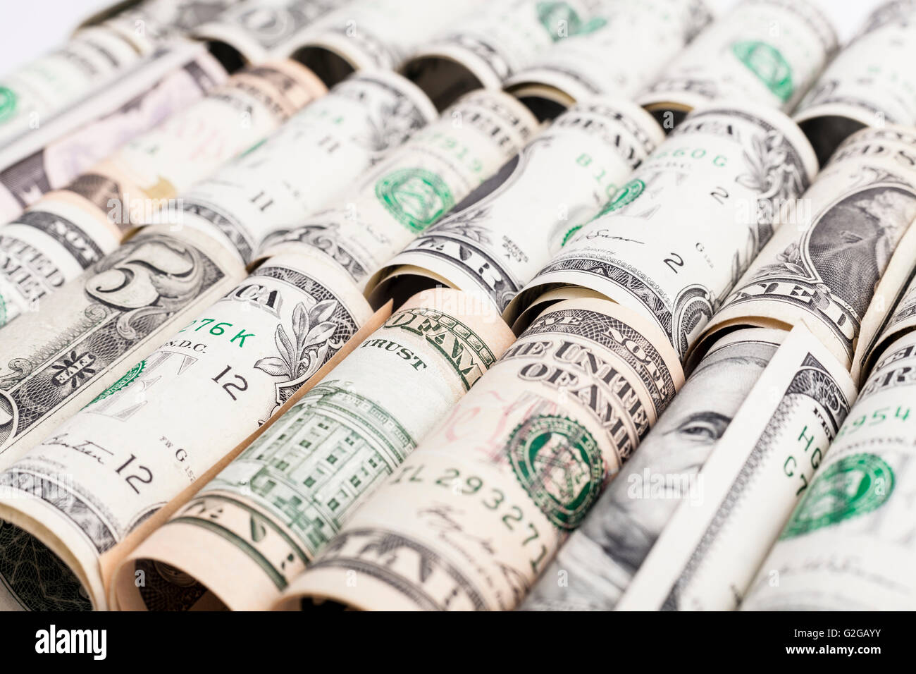 Dollar rollos en una fila de cerca Foto de stock