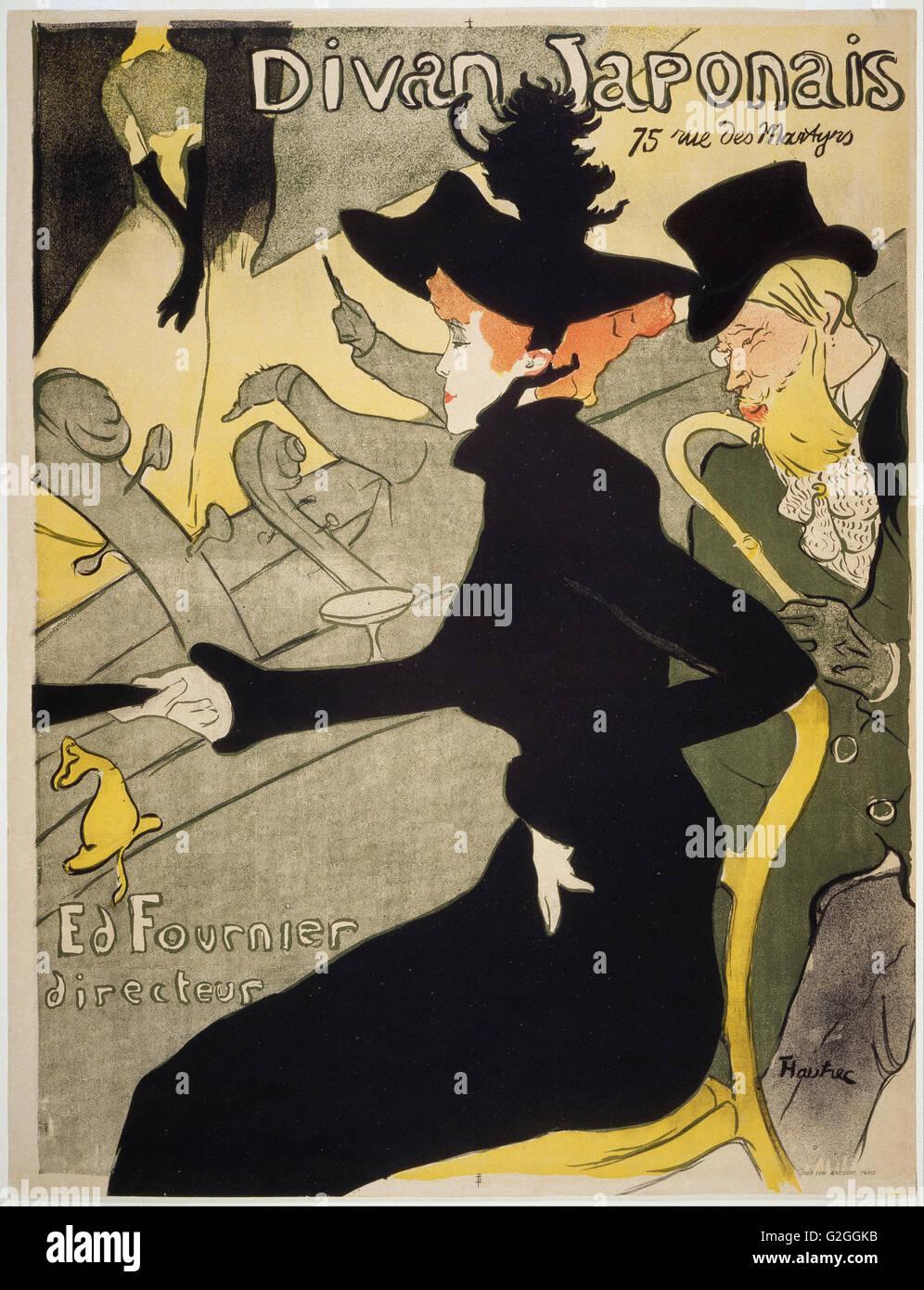 Henri de Toulouse-Lautrec - Divan Japonais - Museum of Fine Arts, Boston. Foto de stock