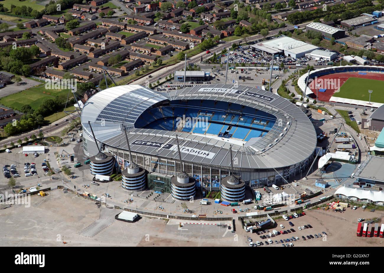 Vista aérea de la Academia de Fútbol de la ciudad de Manchester, el Etihad Stadium & Centro Regional Imagen De Stock