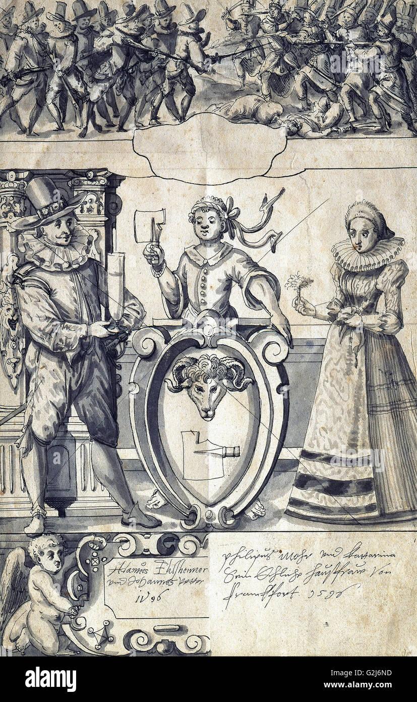 Adam Elsheimer y Johann Vetter - Cartoon para el carnicero de Frankfurt Philipp Mohr - Museo Kunstpalast Düsseldorf Imagen De Stock